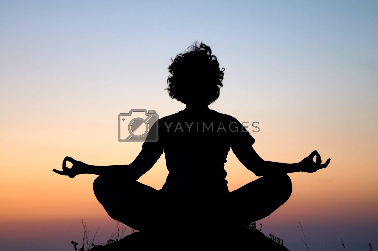 evening yoga meditation in padmasana
