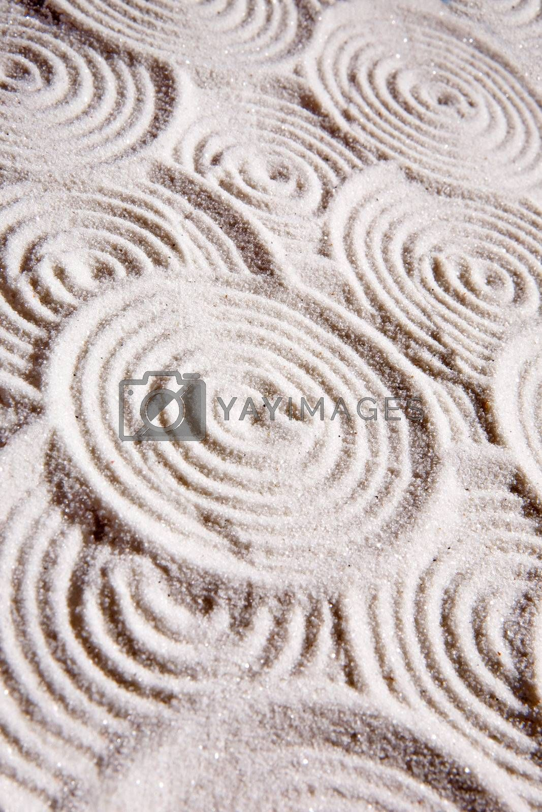 An abstract circles in sand background
