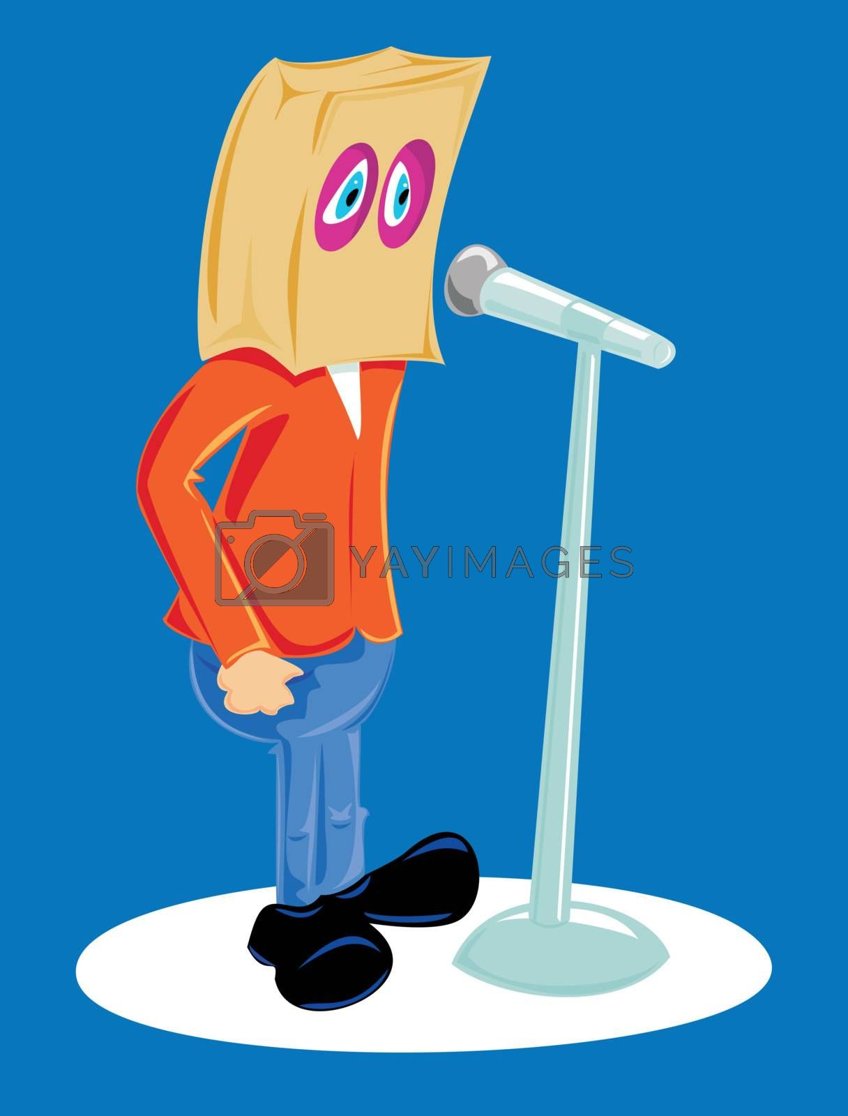 Individual with a paper back over his head doing a speech at a microphone