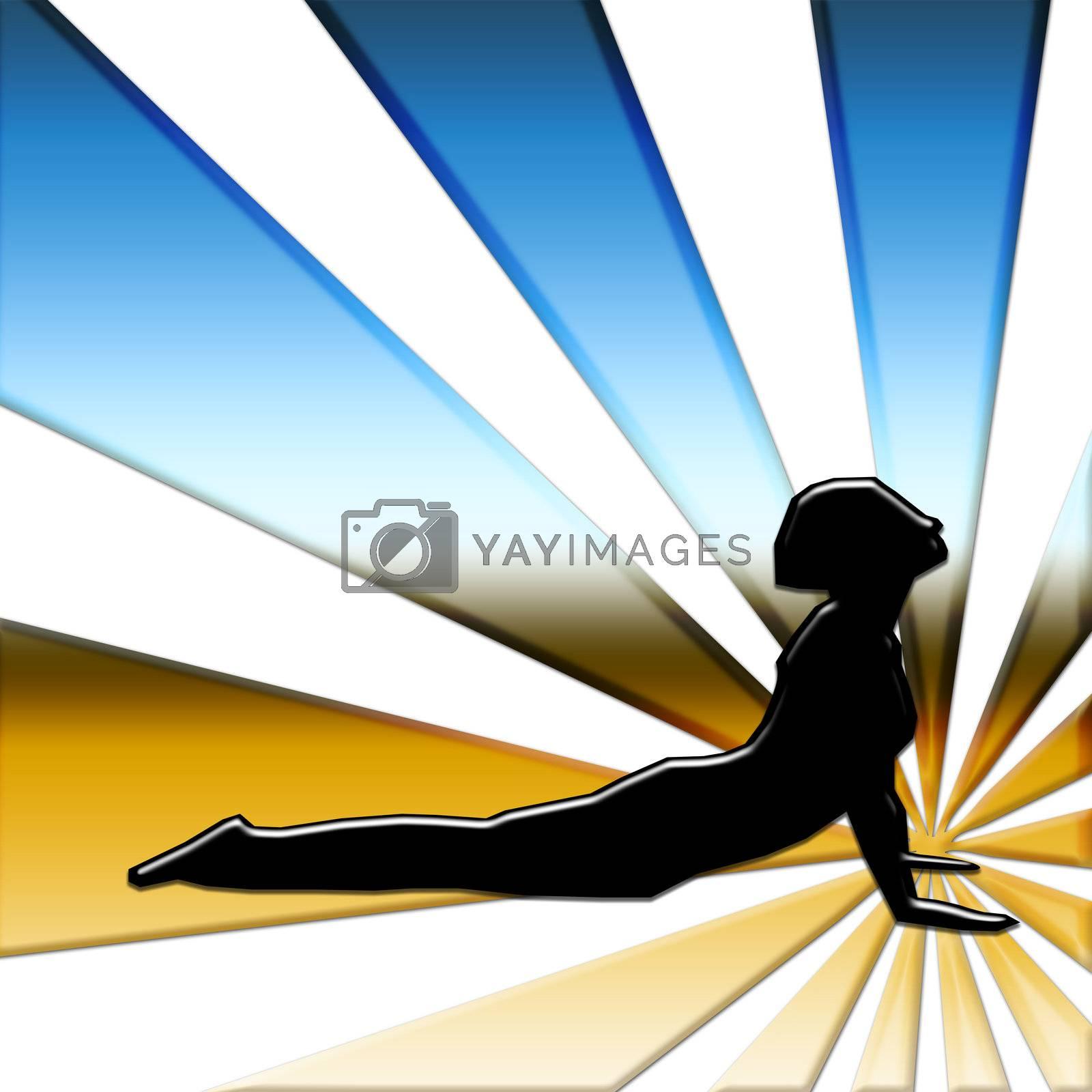 lady doing yoga poise on horizon
