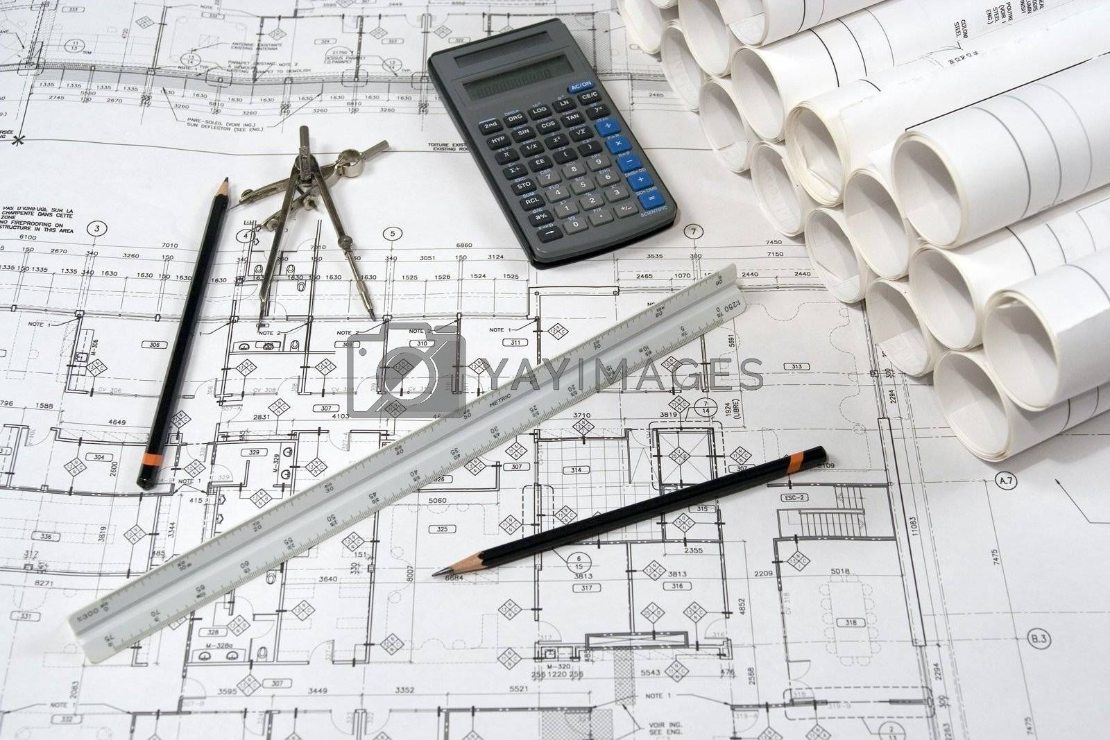 Engineering and architecture drawings with calculator
