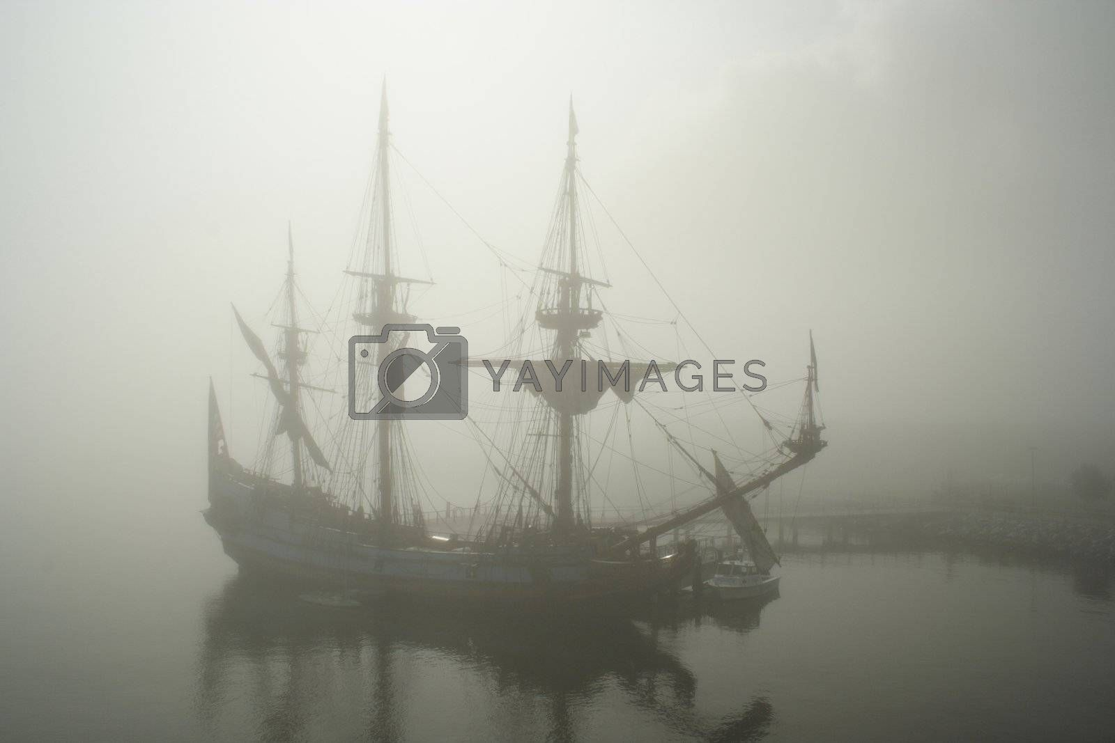 Old sail ship (Pirate?) in the fog by le_cyclope