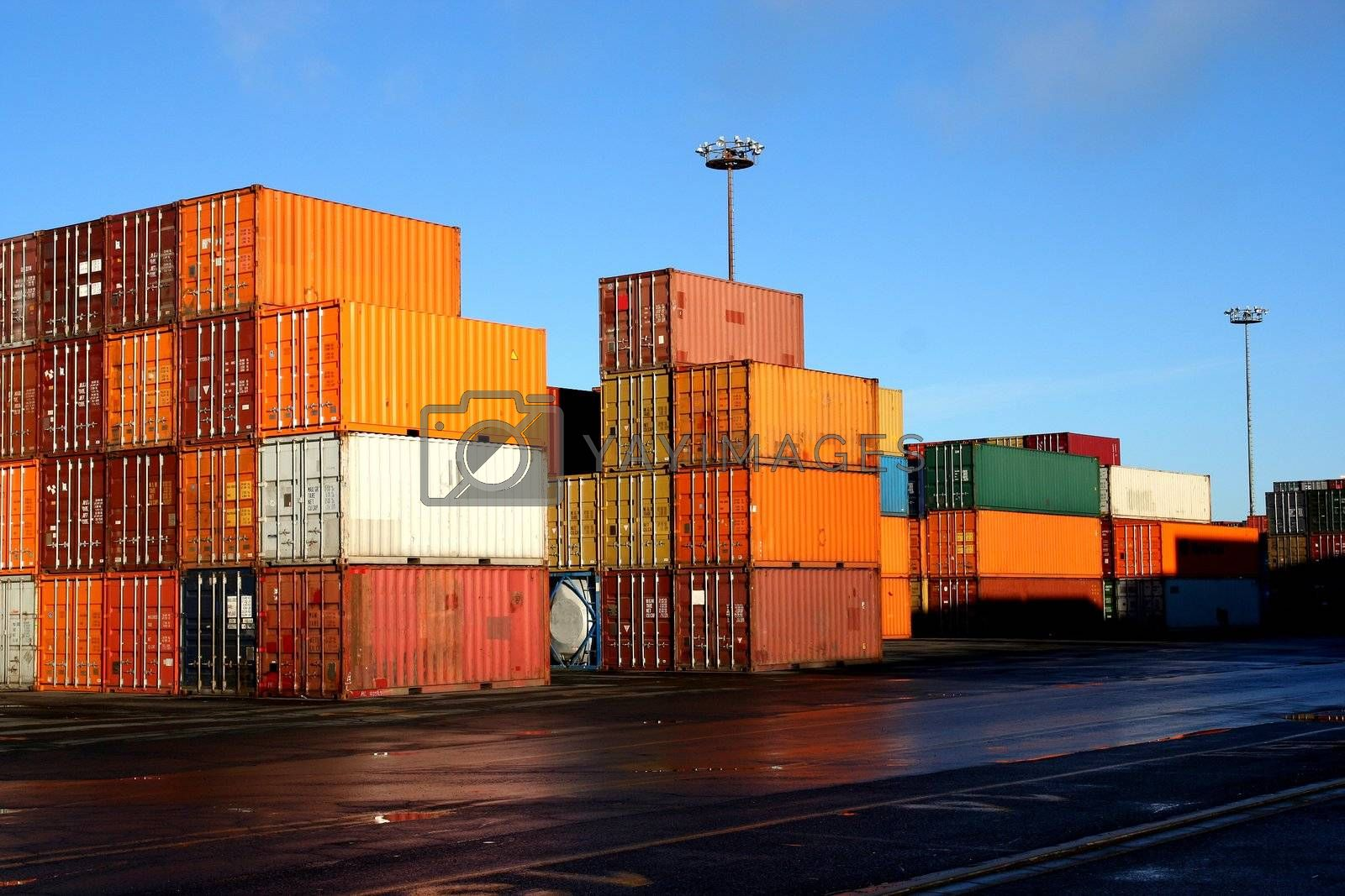 Containers in an intermodal yard by le_cyclope