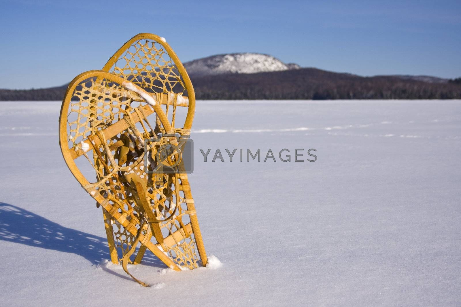 Pair of Snowshoes in the Snow by le_cyclope