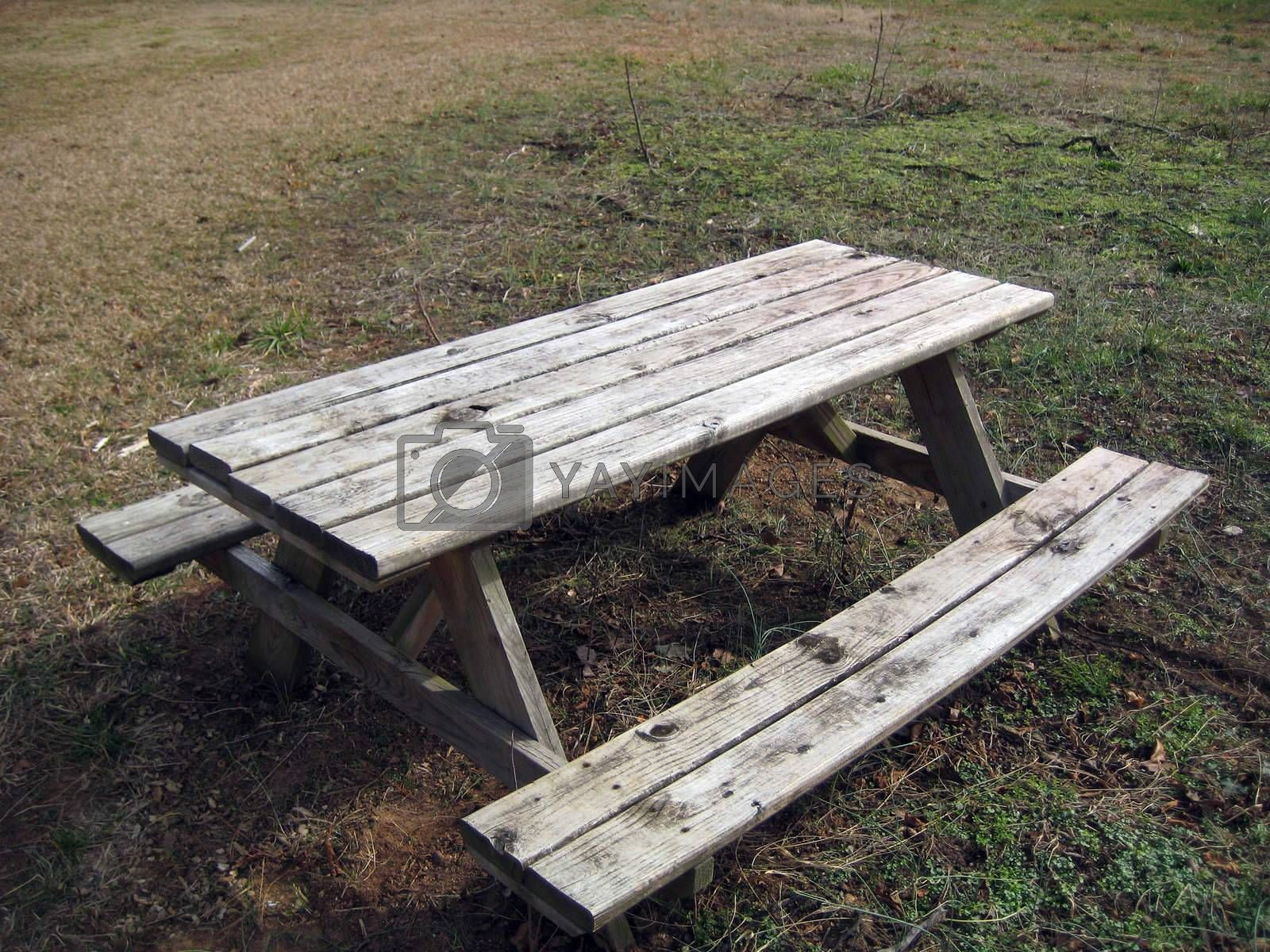 A picnic table in a park