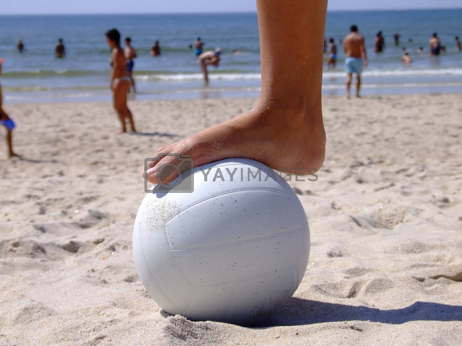 Foot on the volleyball  by PauloResende
