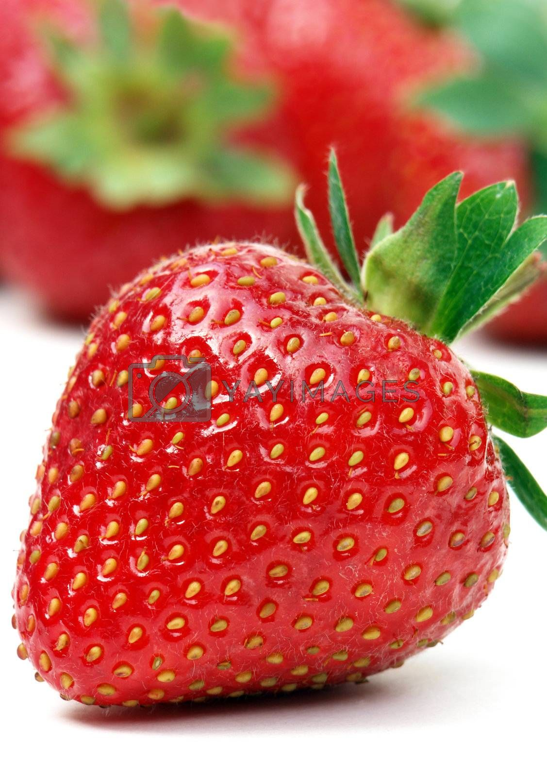Stawberry on white with out of focus strawberries in background