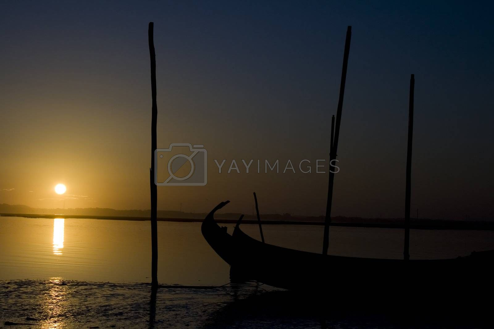 Moliceiro boat on the sunset by PauloResende