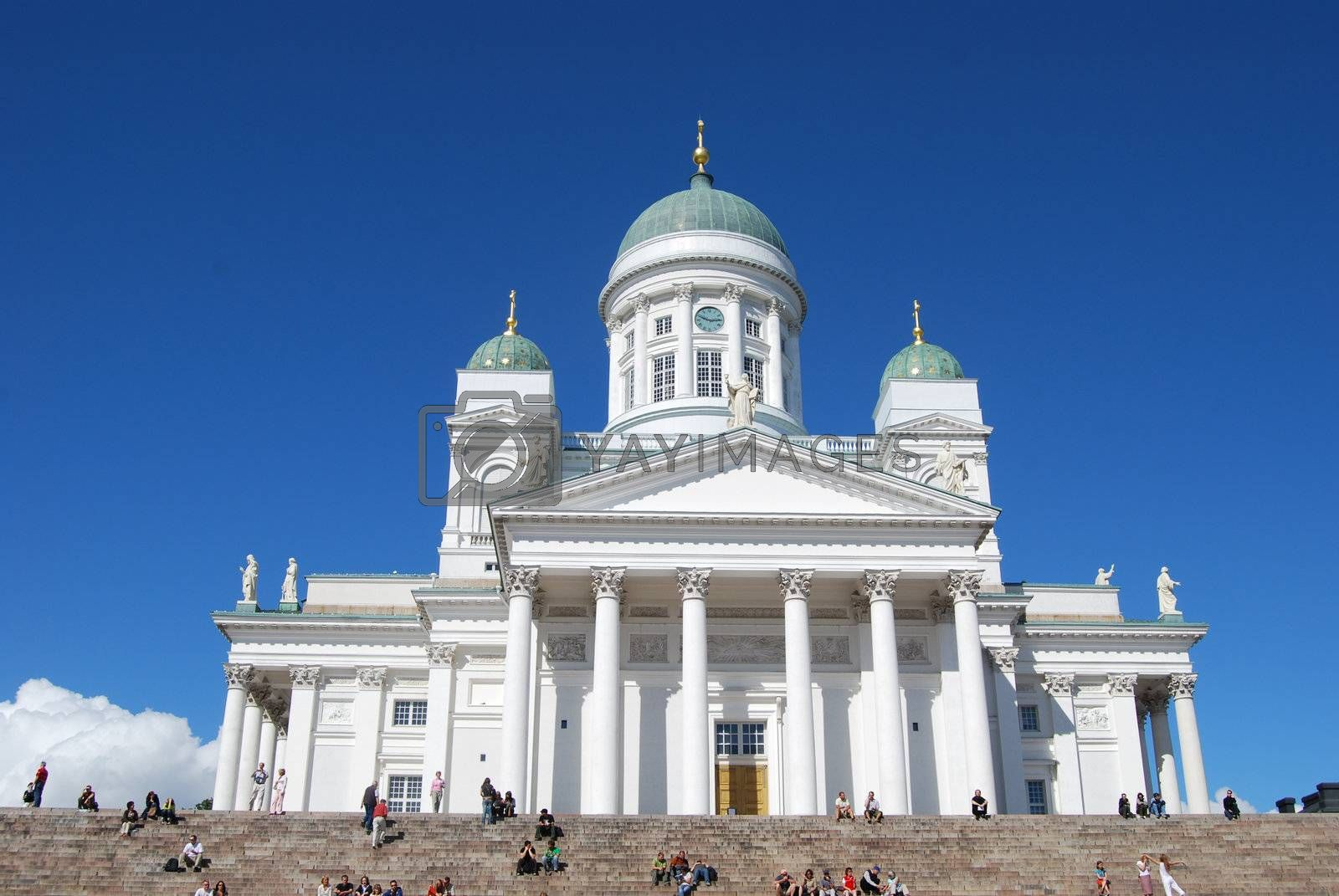 Helsinki cathedral in Finland by windmill