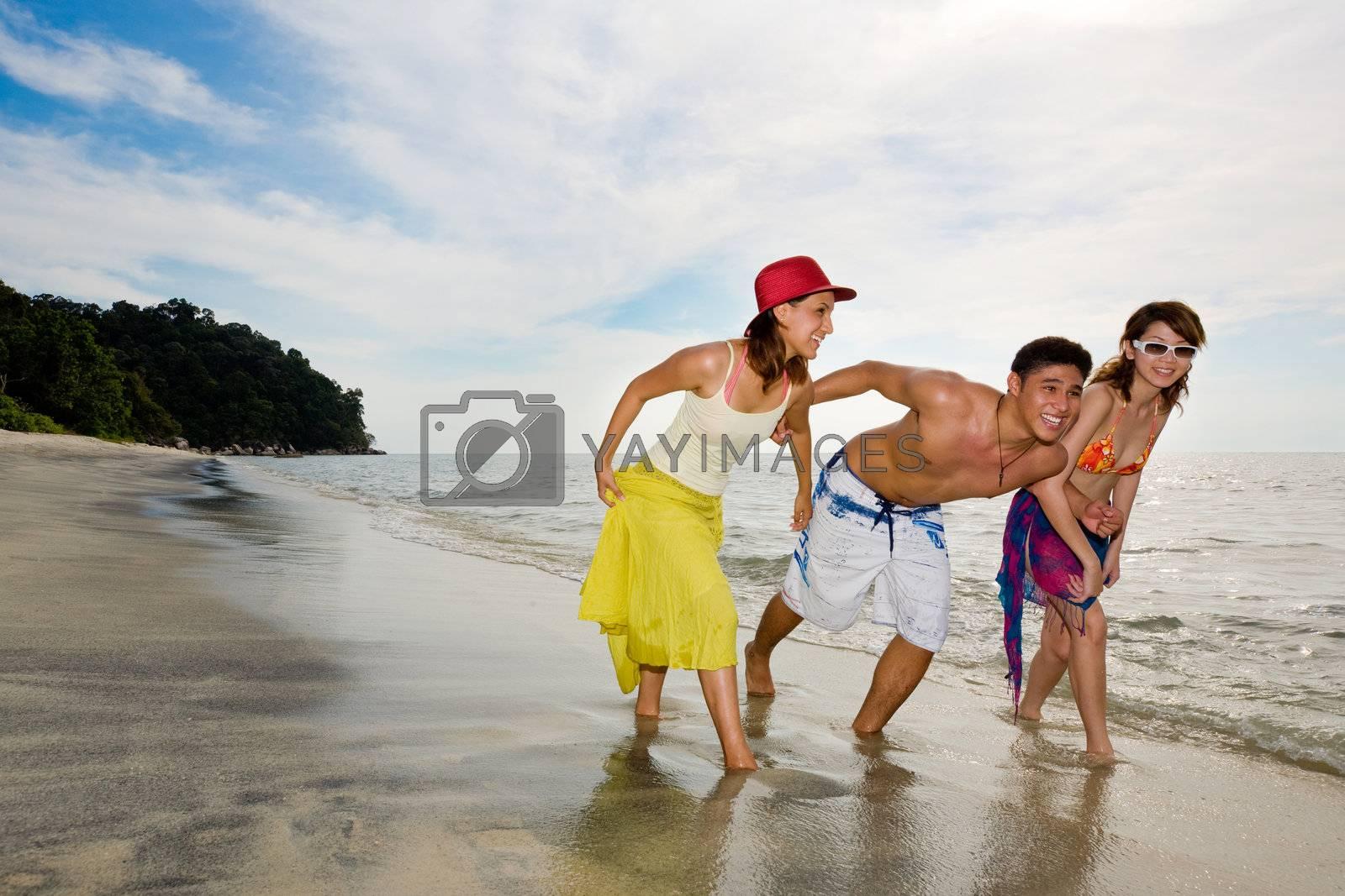 friends having fun on the beach by eyedear