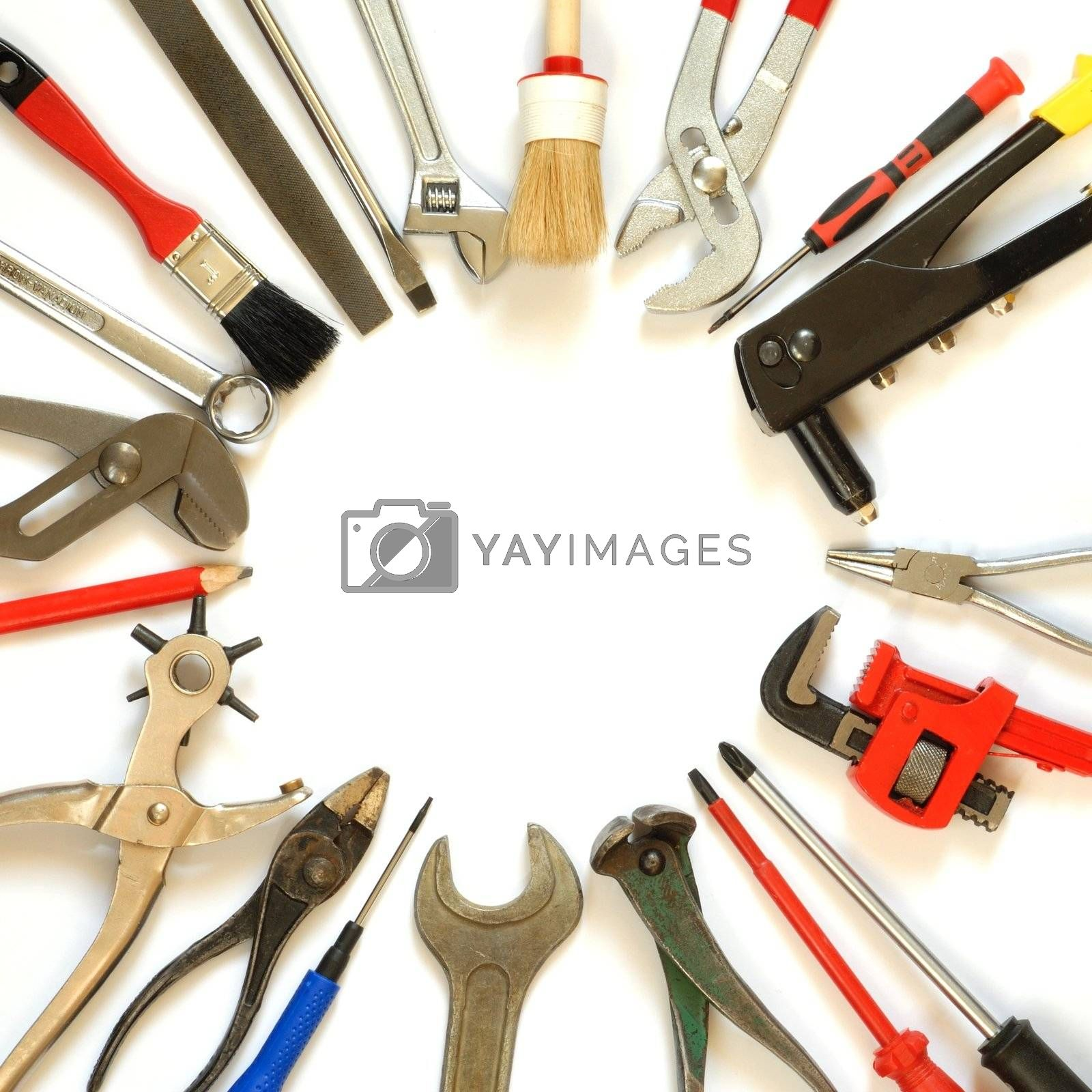 Tools with empty space inside isolated on white