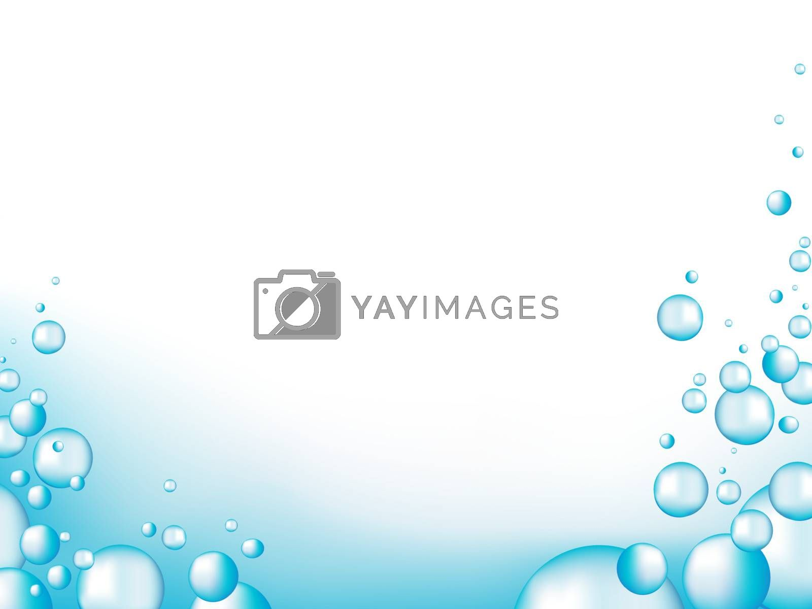 illustration of blue water drops with copyspace for your text