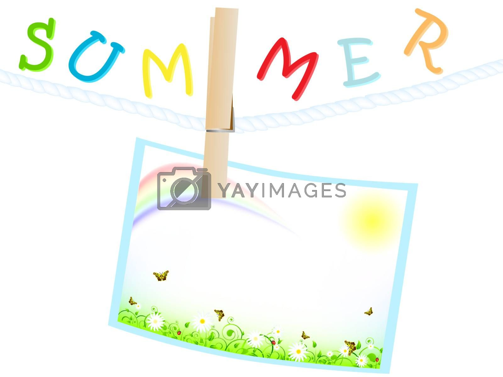 summer frame with green meadow, sun and rainbow at rope