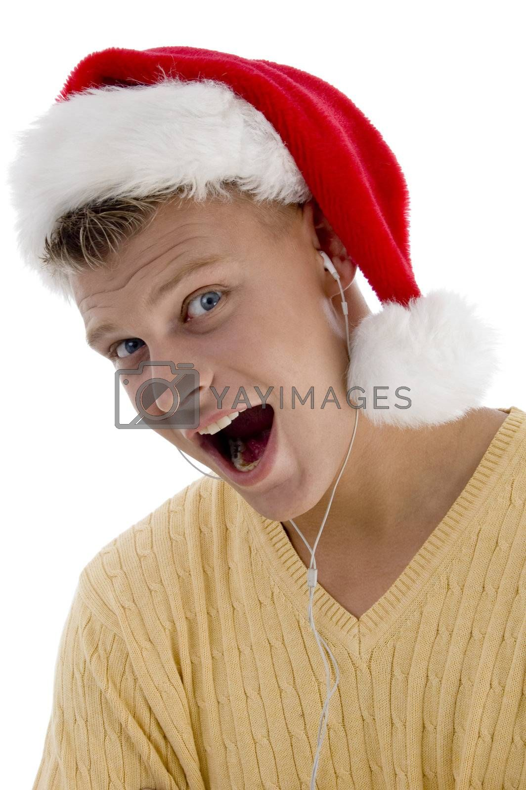 cool man with christmas hat and canal phone on an isolated background