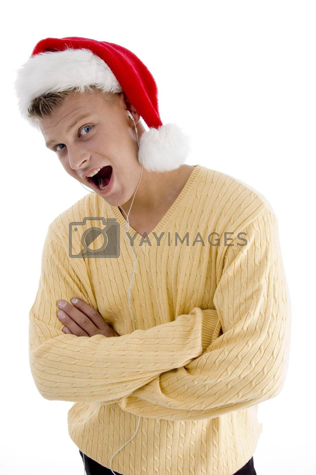 cool male with christmas hat and canal phone on an isolated white background