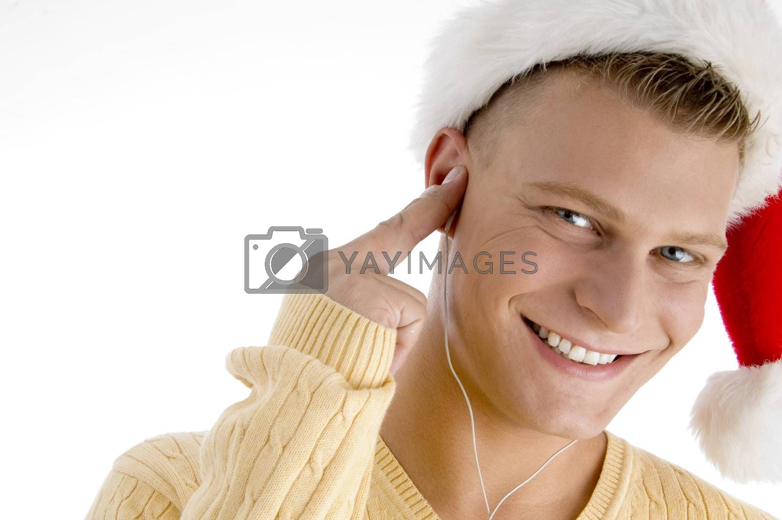 smiling man with canal phones with white background