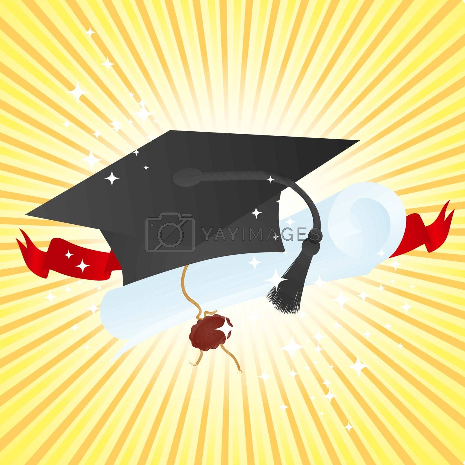 Education theme: graduate hat and diploma