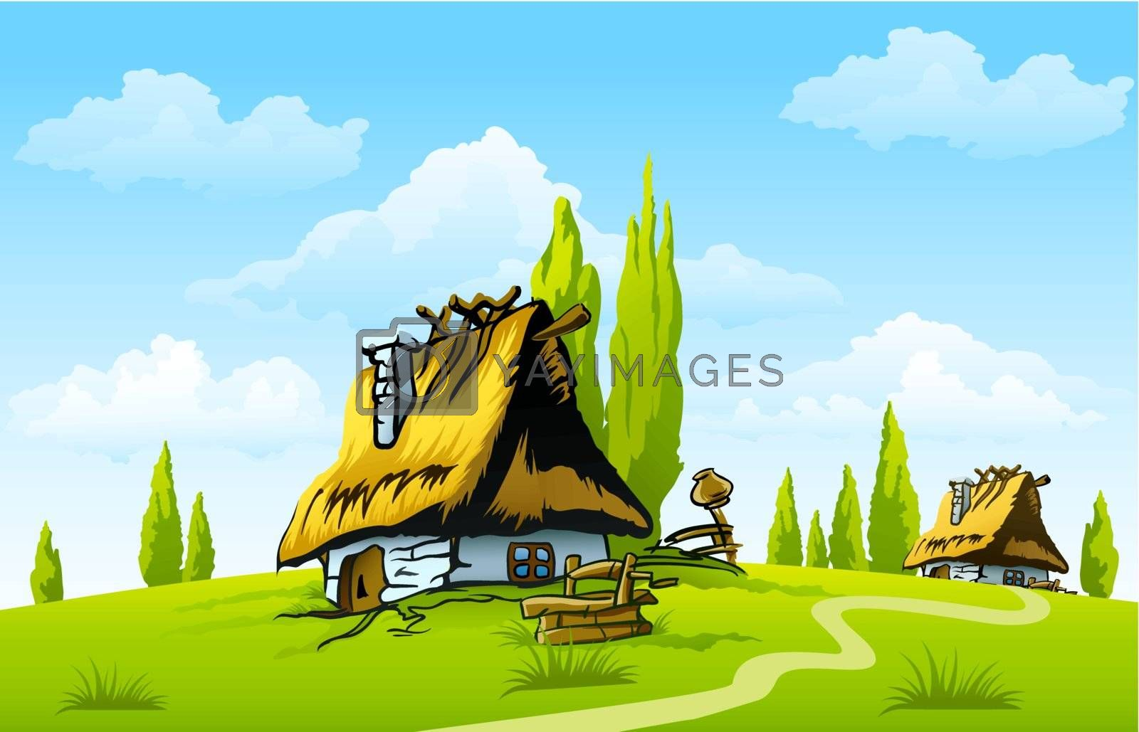 landscape with old house in the village vector illustration