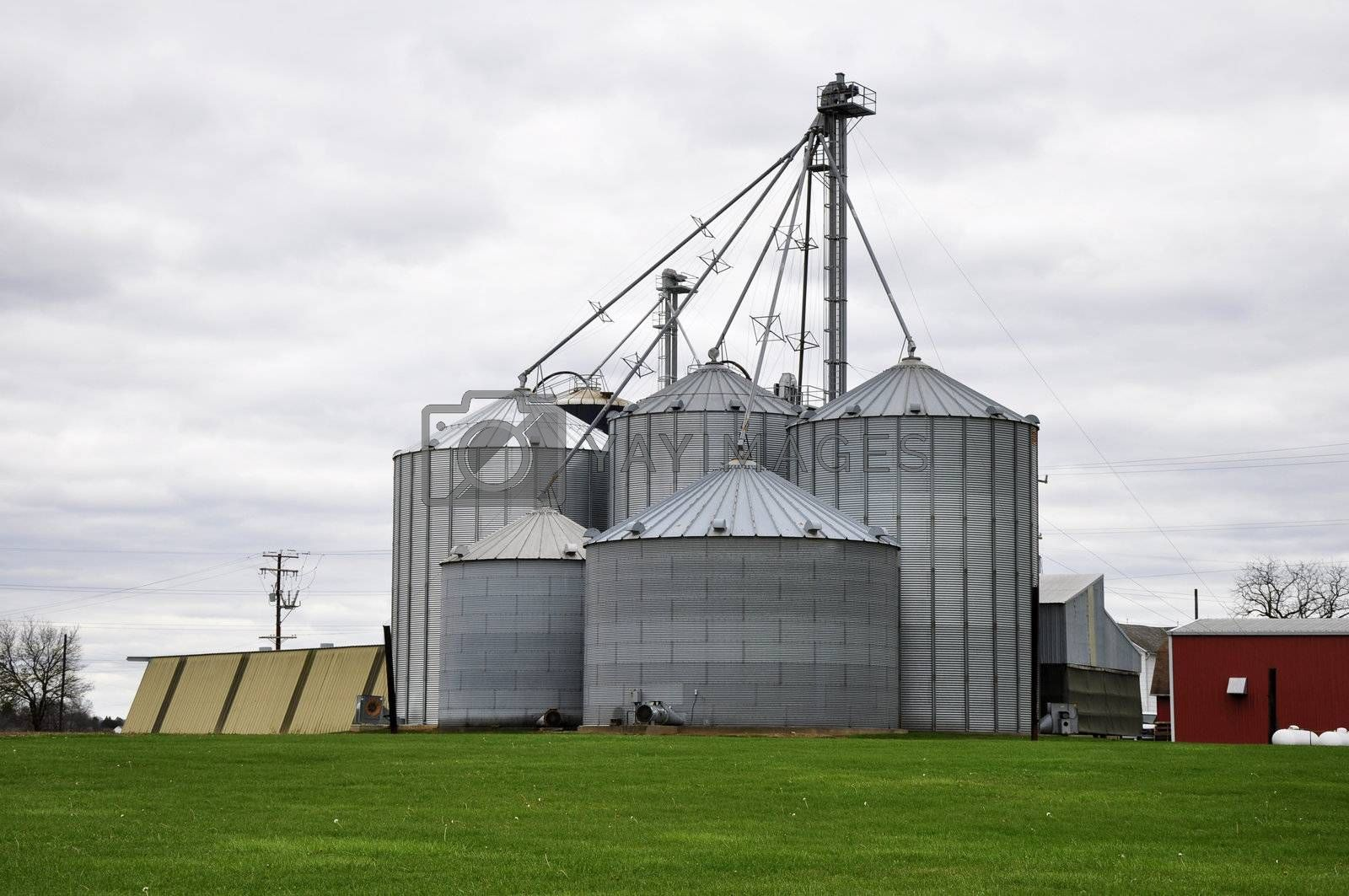 many different size large farm silos