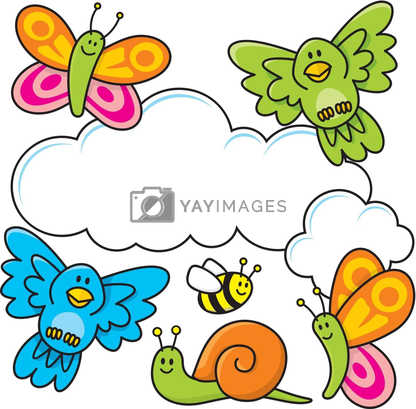 A spring scene with baby animal cartoons, butterflies, birds, bee and a snail.