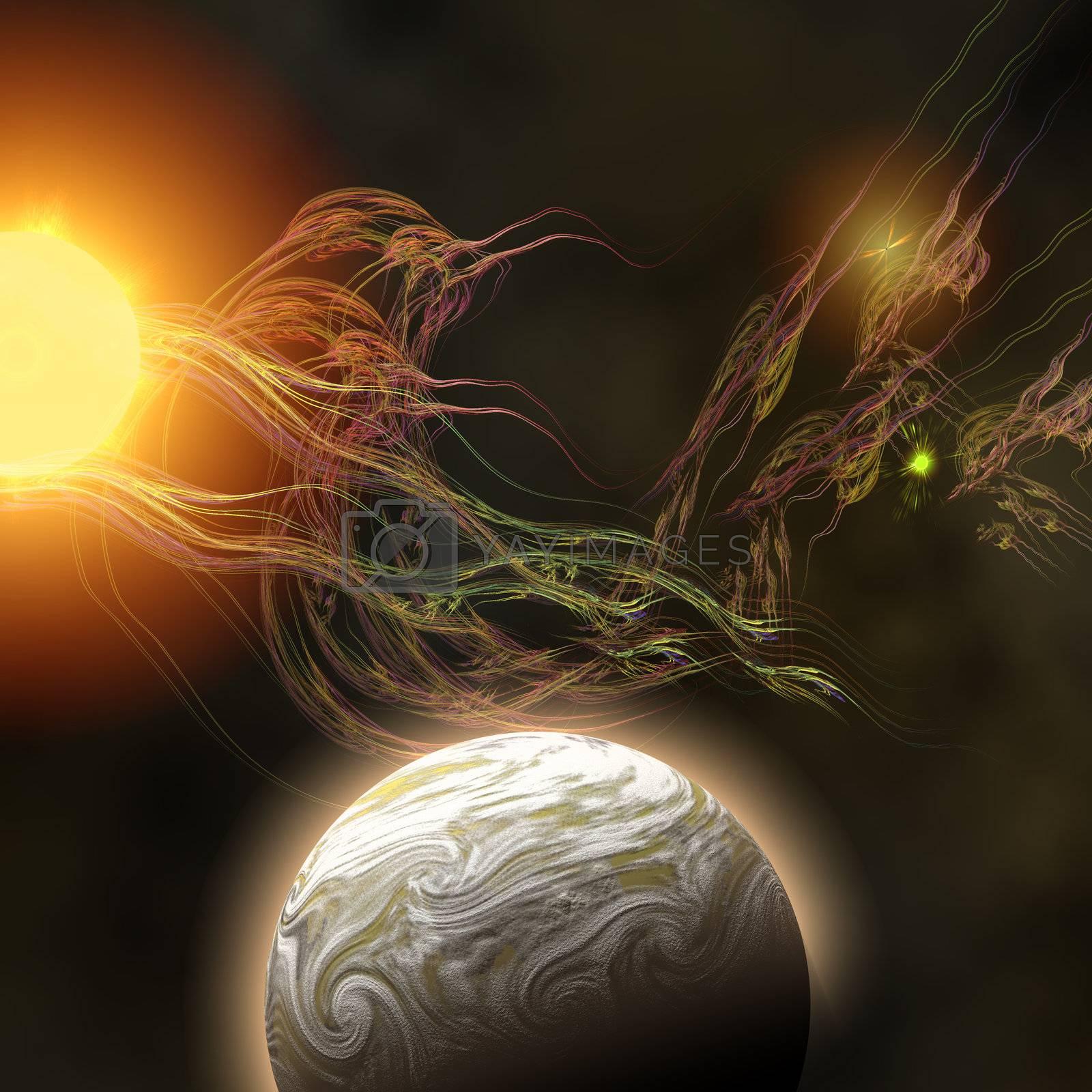 A huge sun radiates solar flares toward a nearby planet.