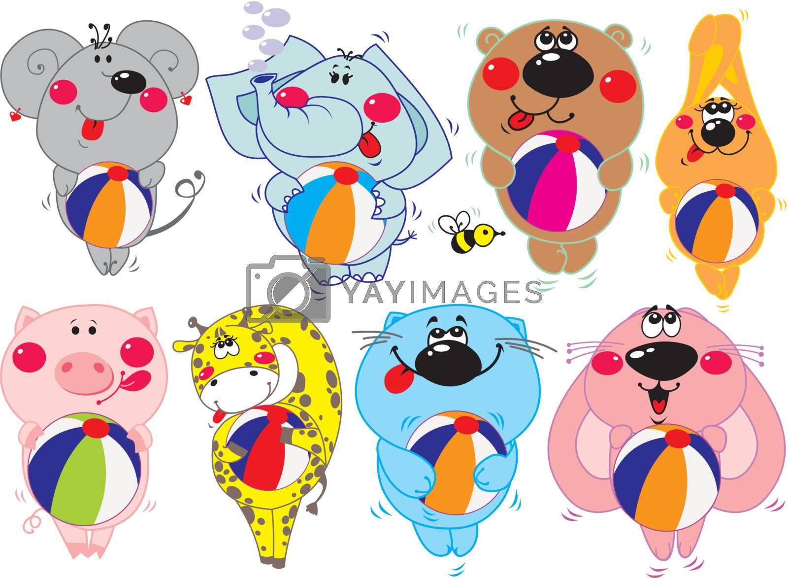 vector set of eight cartoon animals