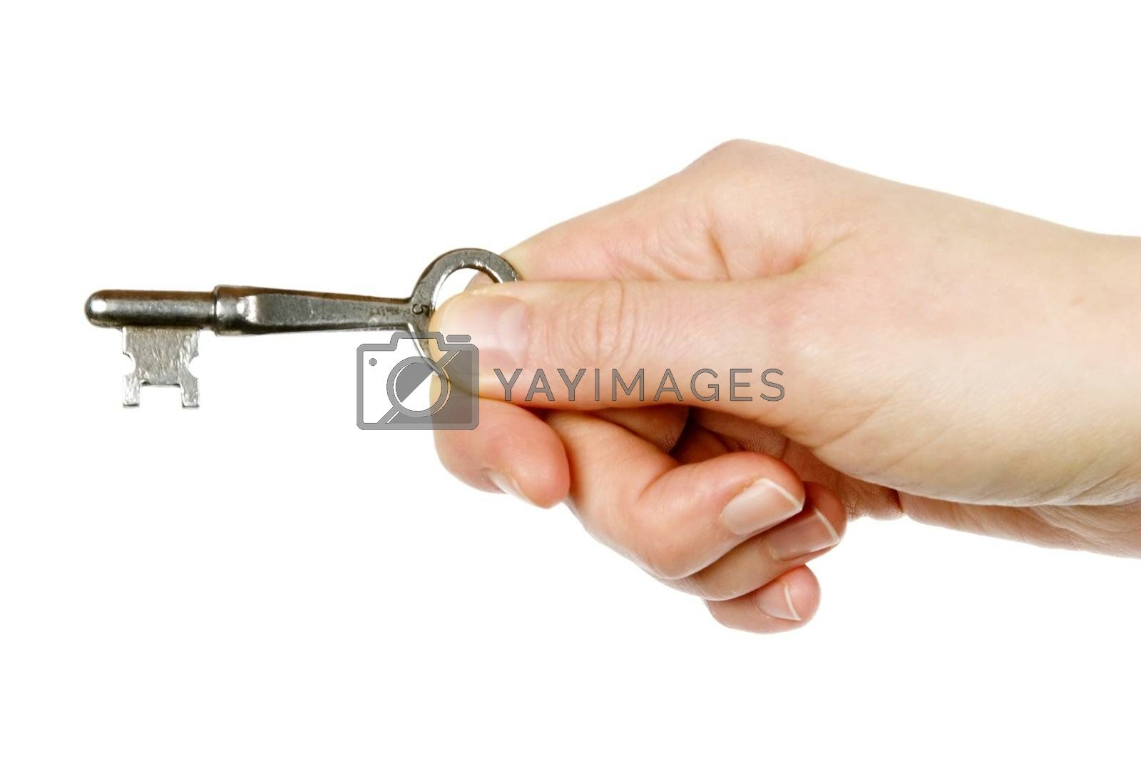 A concept image of a womans hand holding a key. Isolated on white with clipping mask.