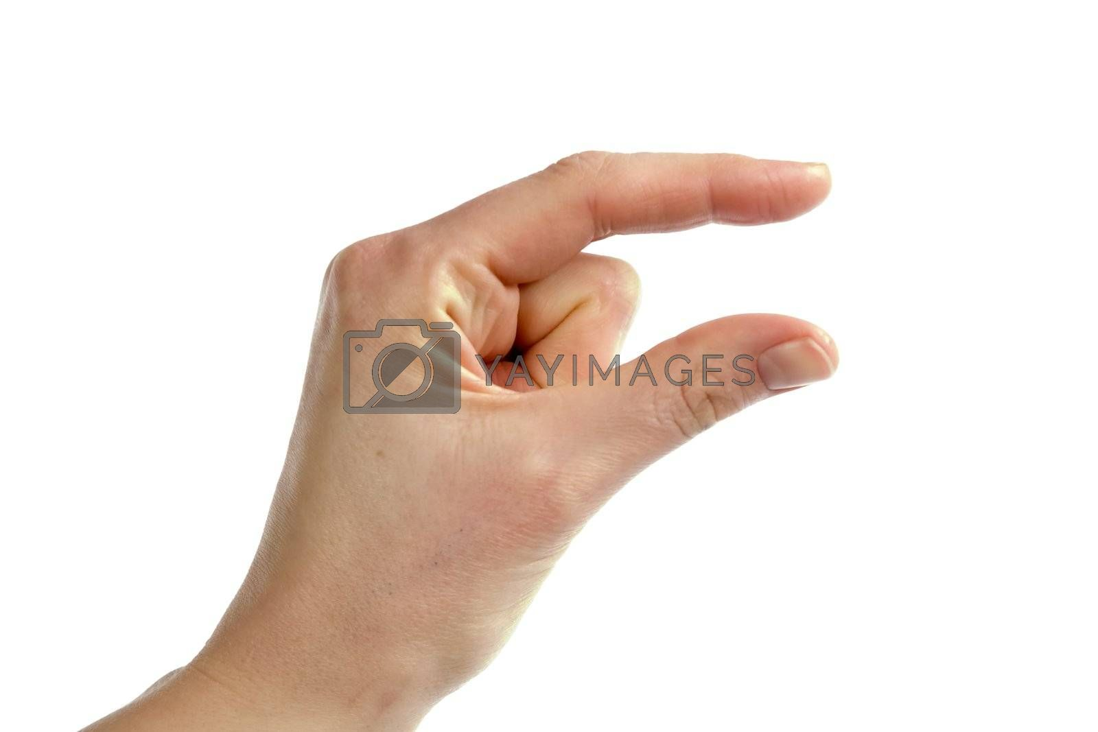 An adult female hand conveying the message of something small. Image includes clipping path.