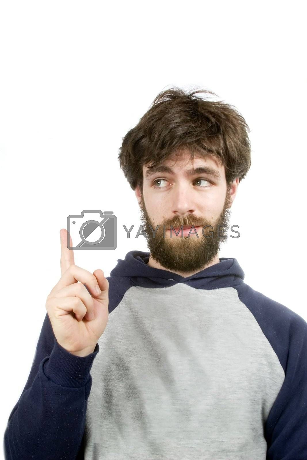 A young humorous bearded male, with a good idea.