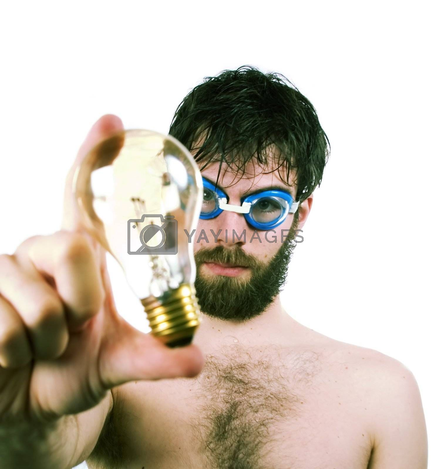 A funny looking male with a bear and swimming goggles, holding a clear light. Concept image for fresh thinking, new ideas.