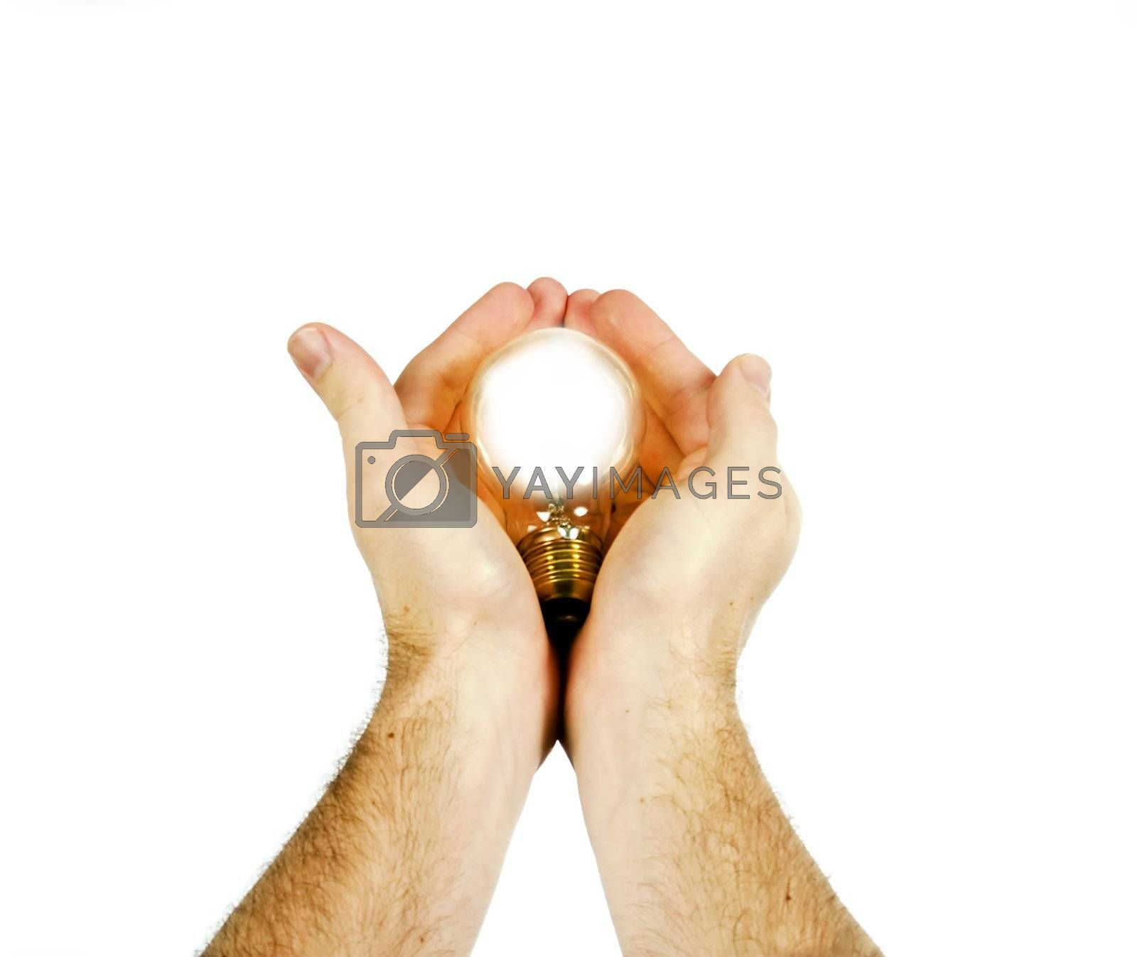 A concept image of a new idea, new birth.  A light bulb being gently held in a pair of mens hands, while the light bulb is glowing