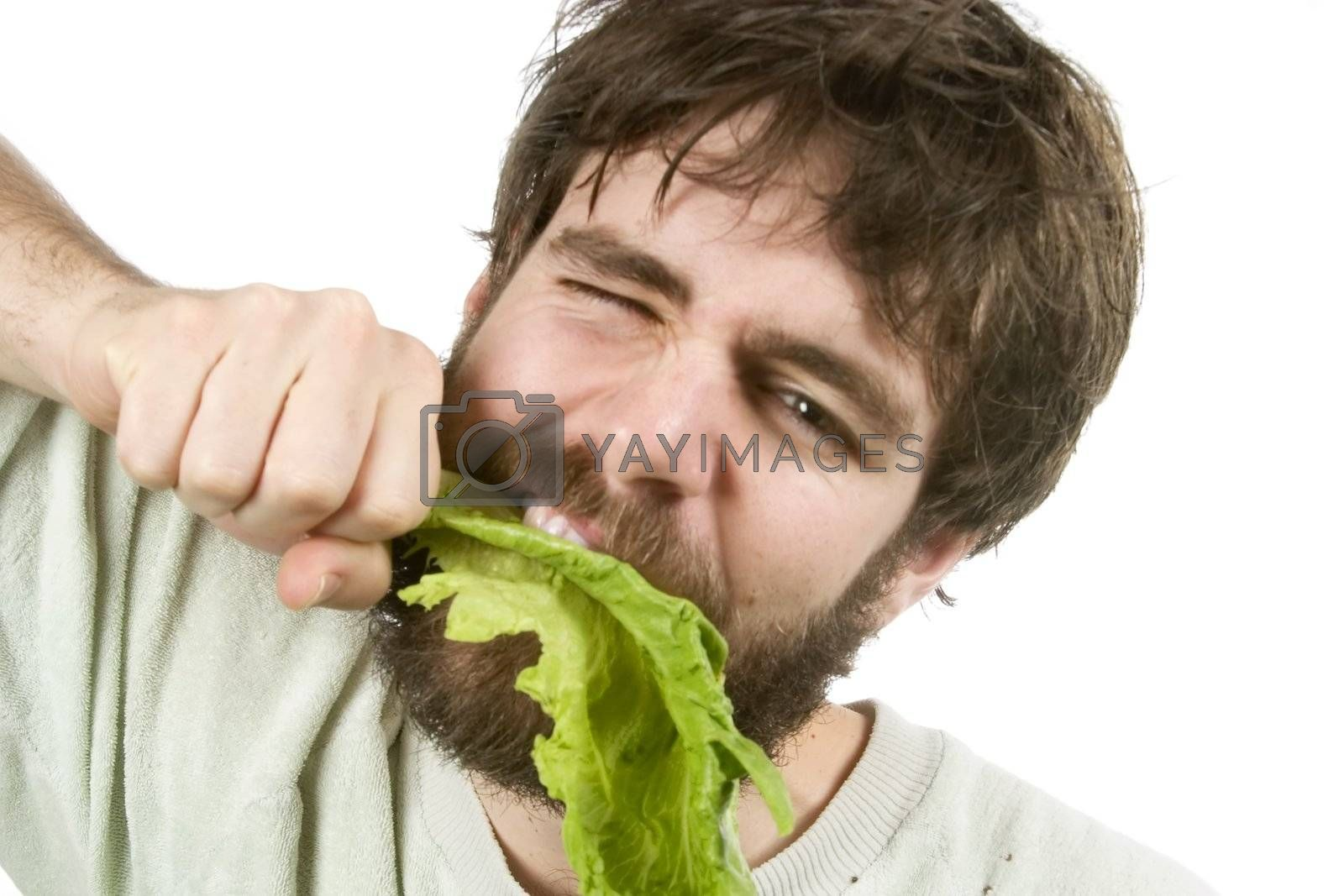 A young male with a beard is eagerly eating salad, as if he were a barbarian eating meat.