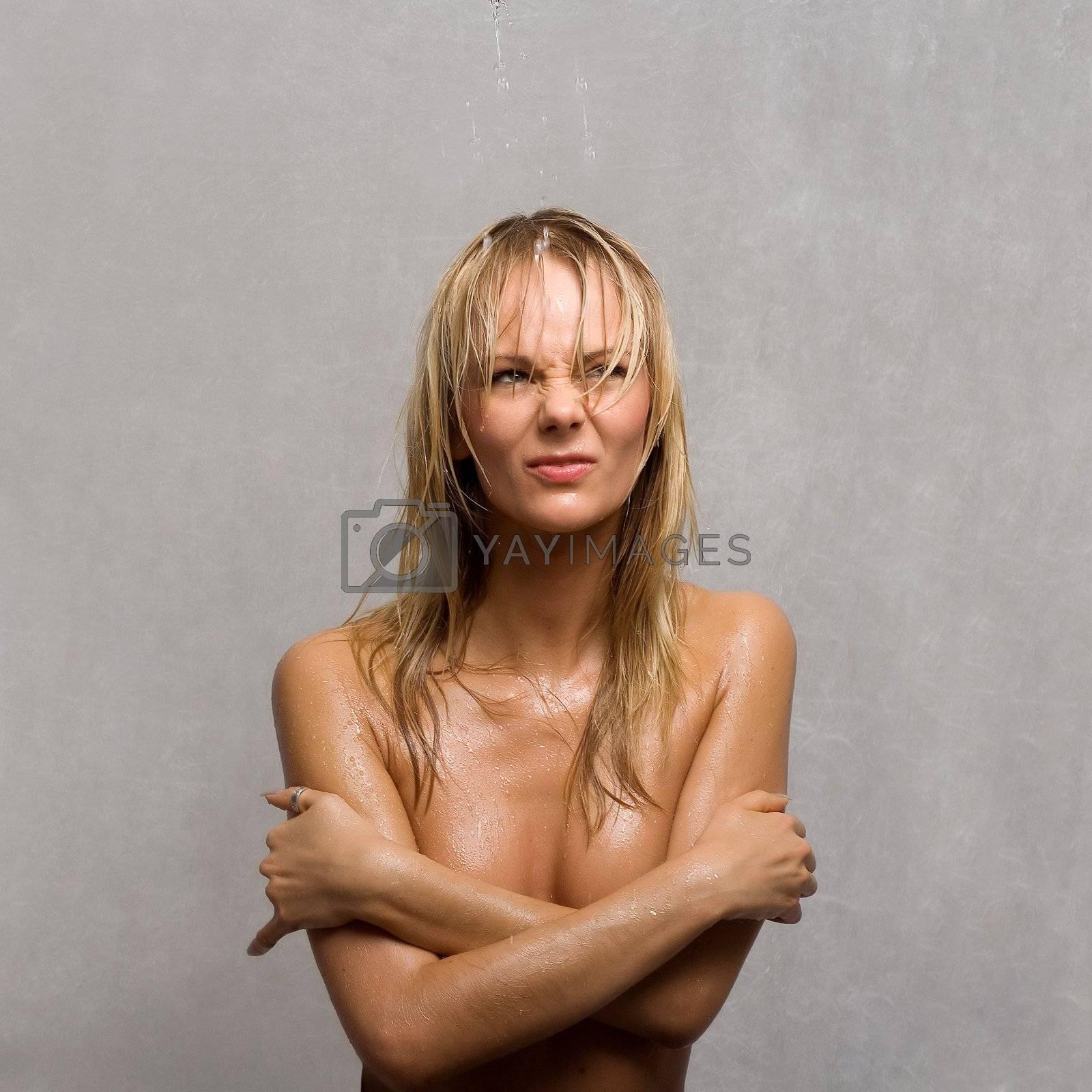 displeased wet girl