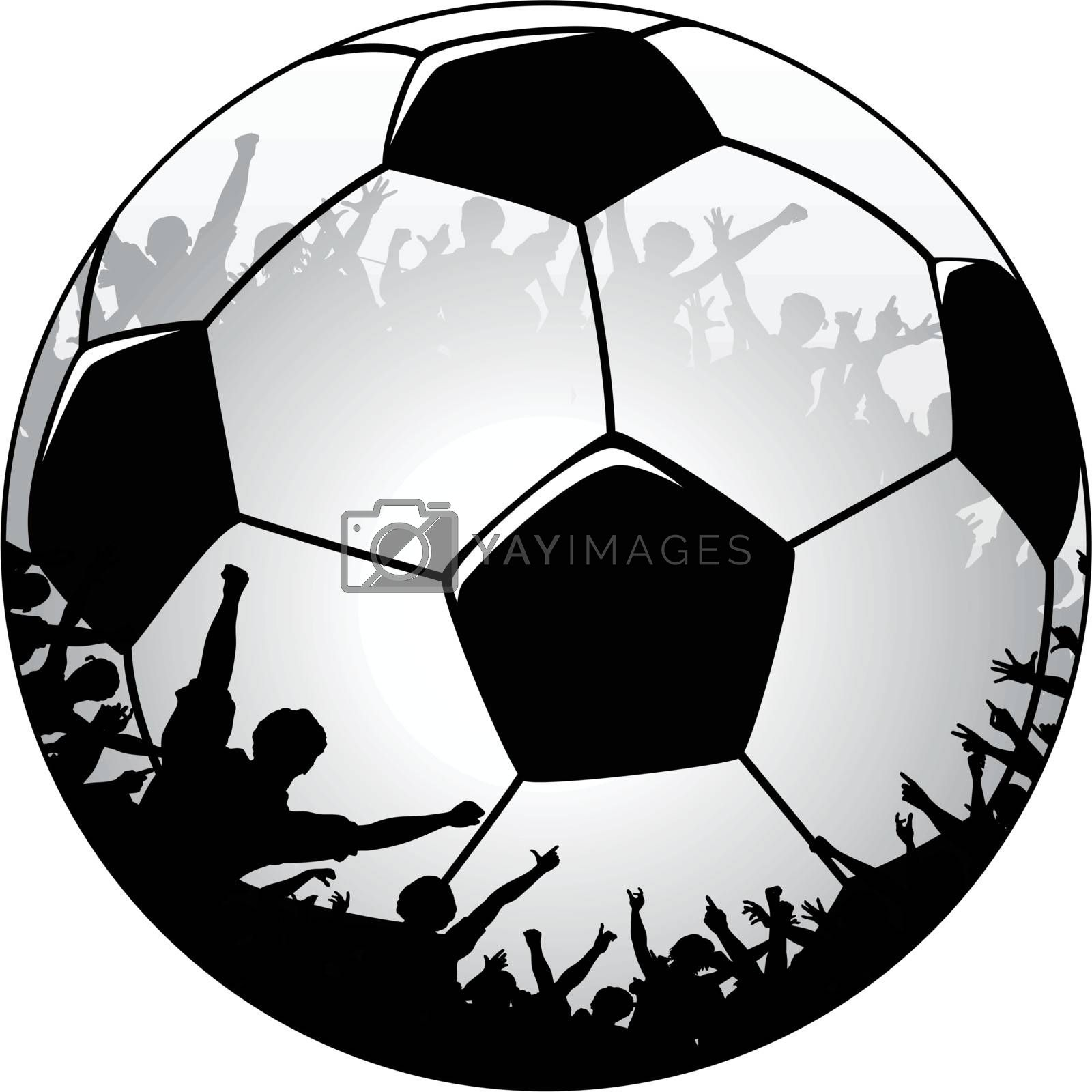 Editable vector illustration of a soccer ball with cheering crowd