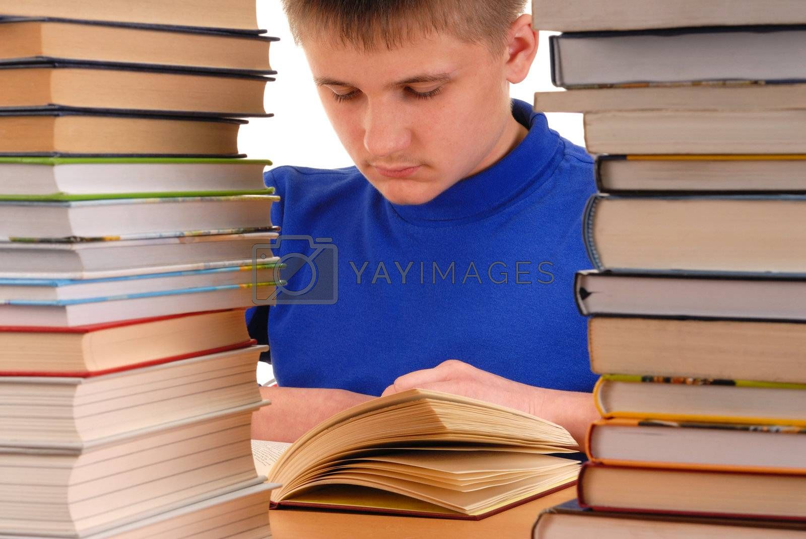 Student reading books in library, focus on head
