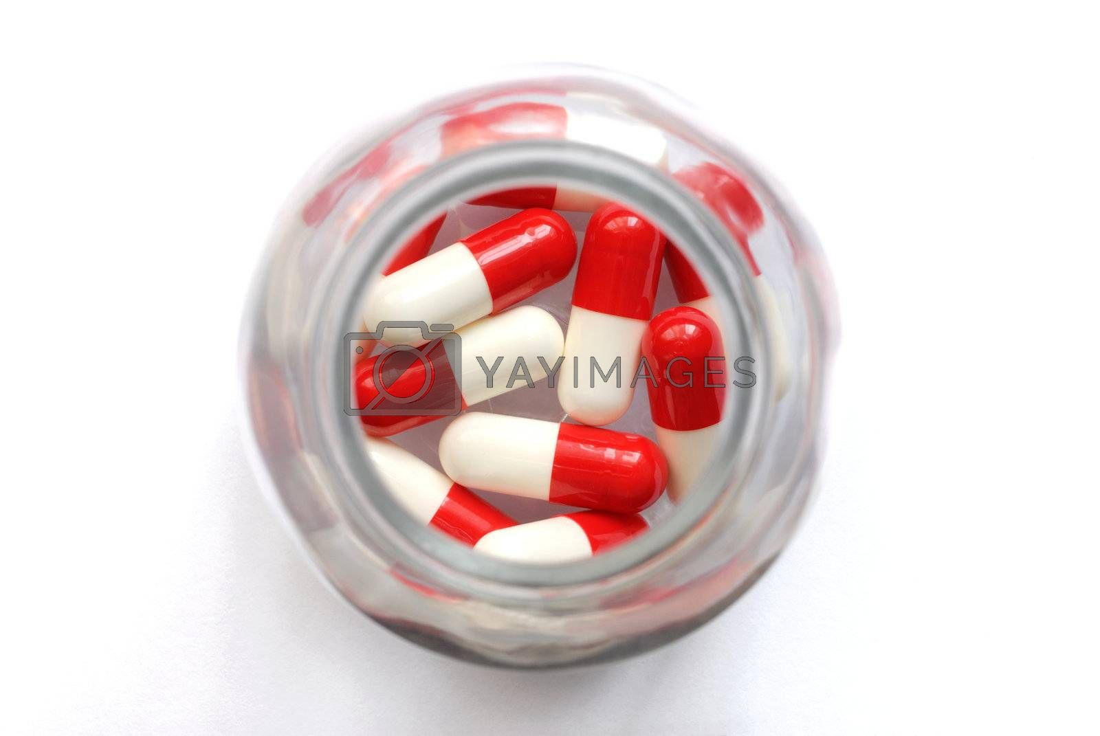 Macro of capsules in a bottle