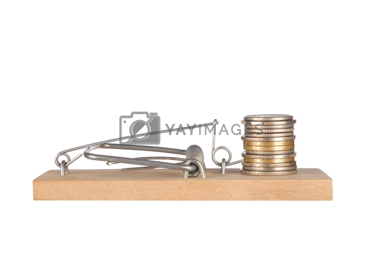 Mousetrap with coins stack isolated on white