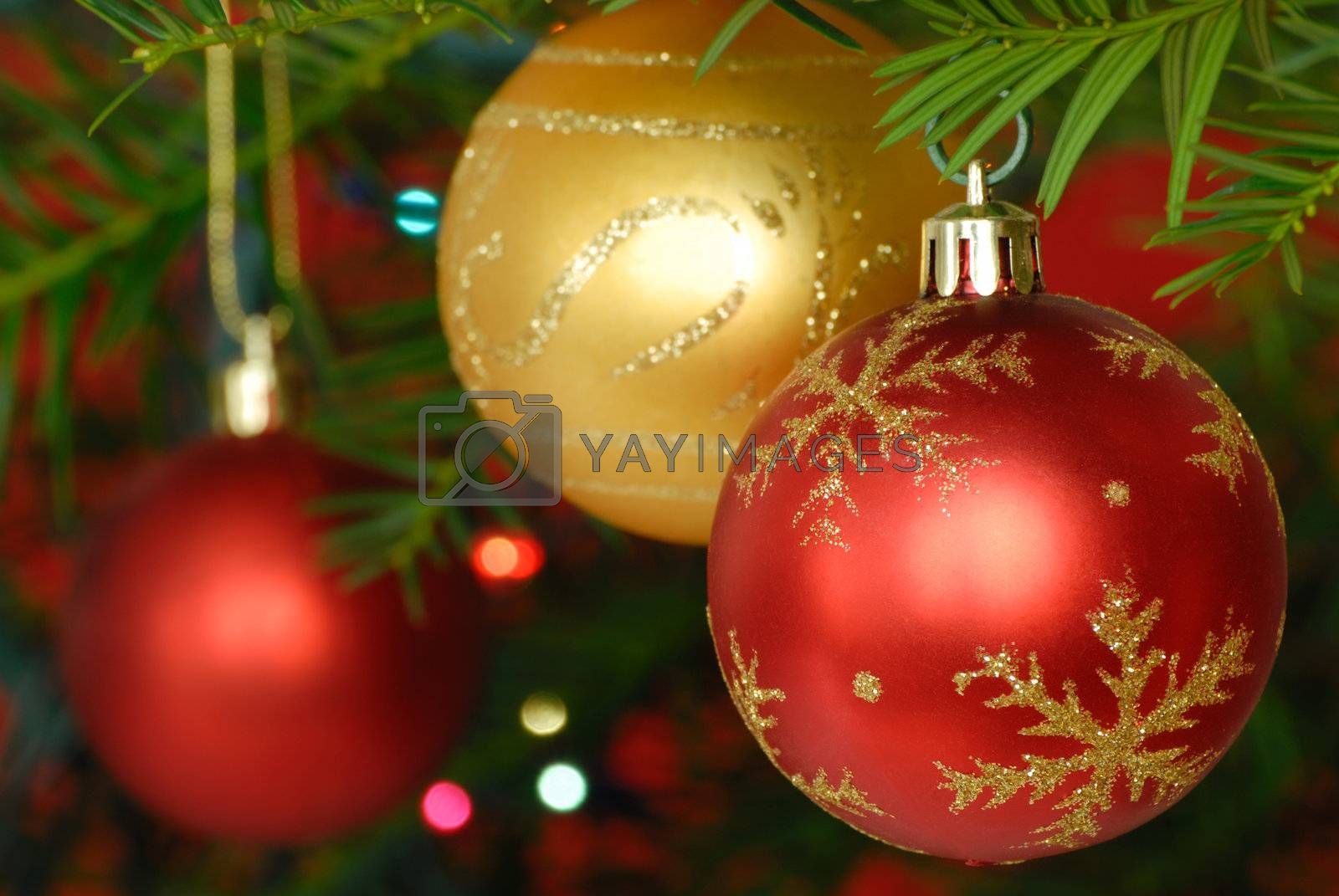 Christmas baubles and lights on a Christmas tree