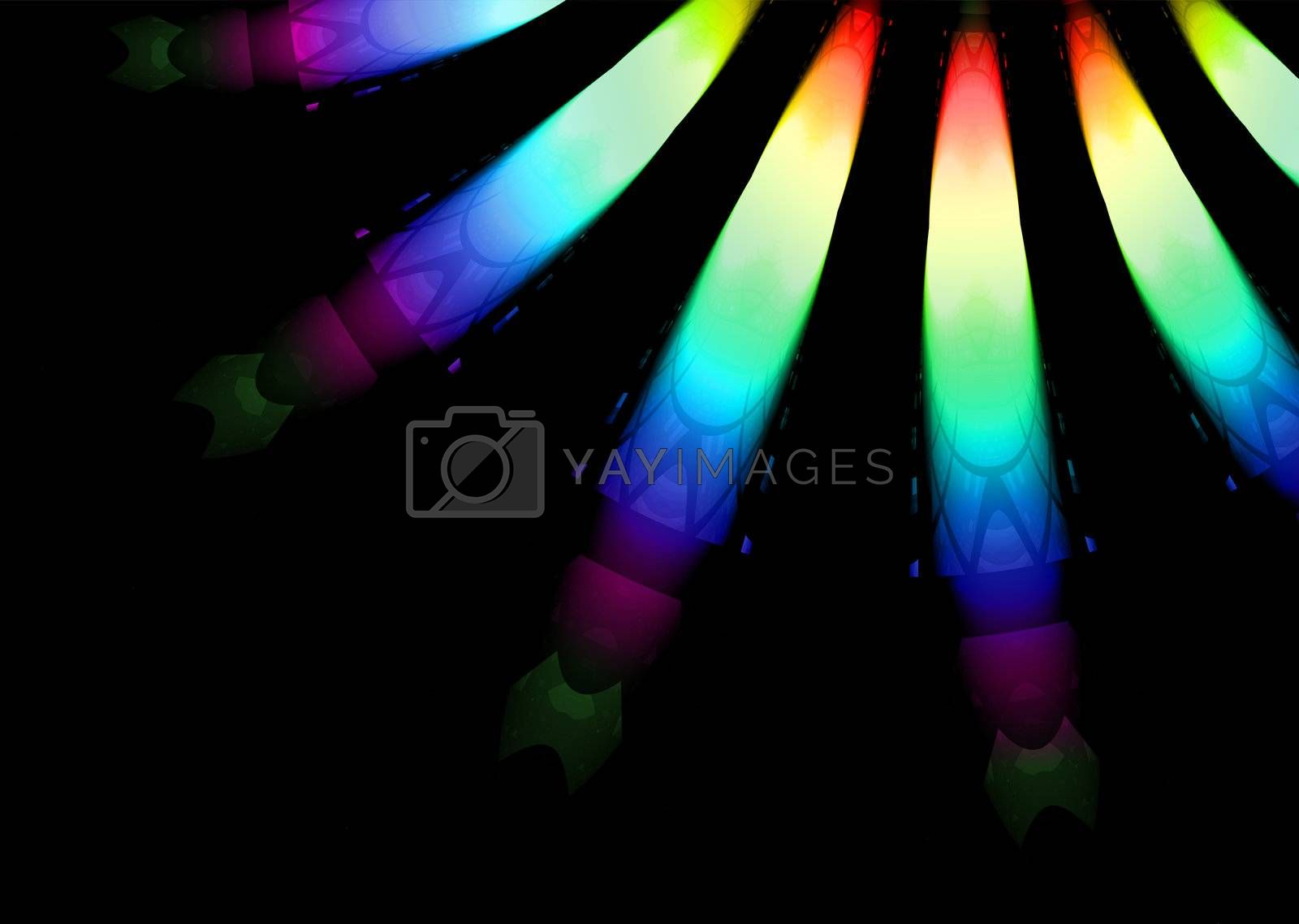 Bright coloured christmas lights close up with black background