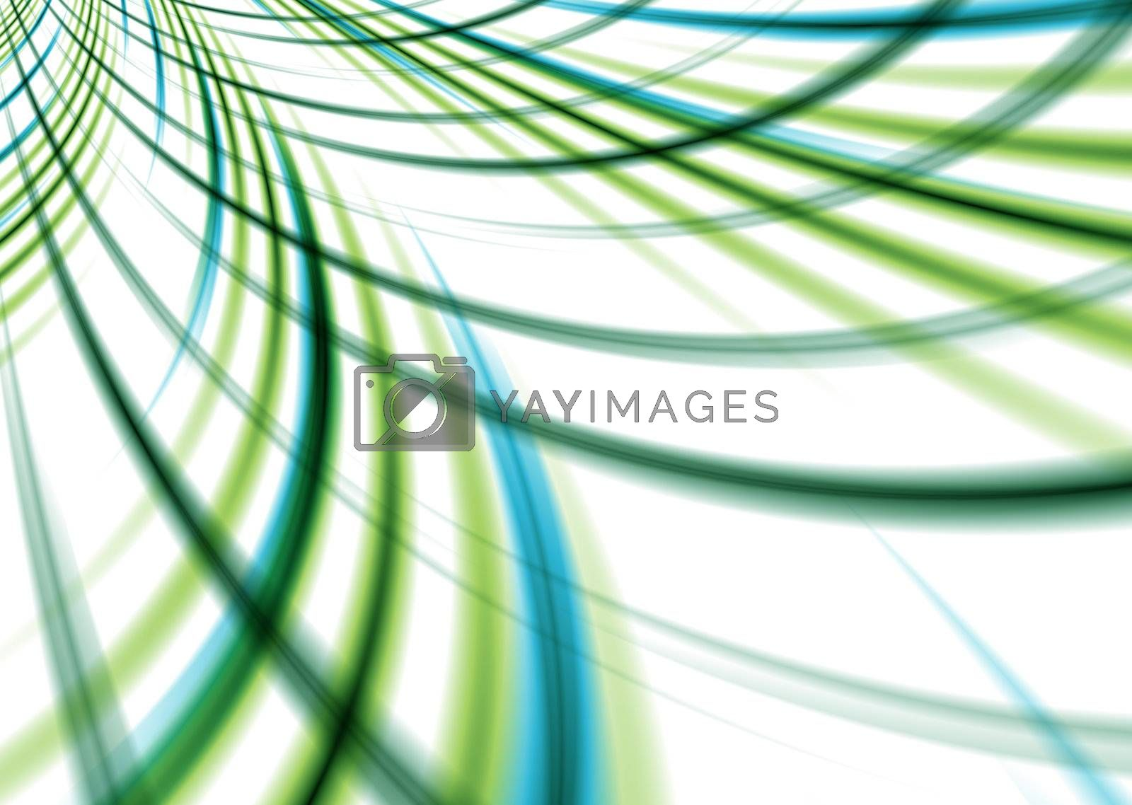 Abstract woven background with intersecting lines in green and blue