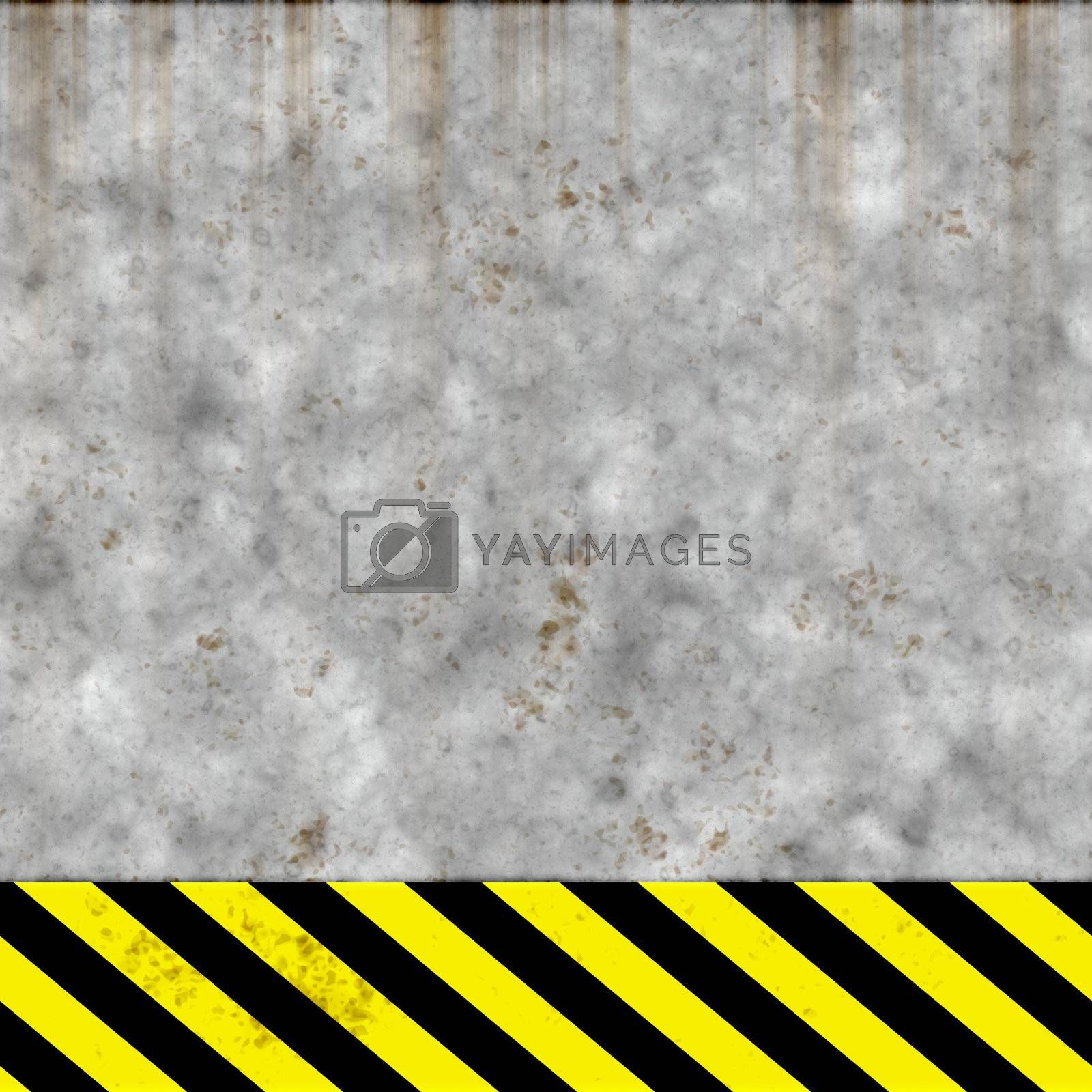 worn out cement or concrete wall with hazard stripe warning, will tile seamlessly, but only horizontally