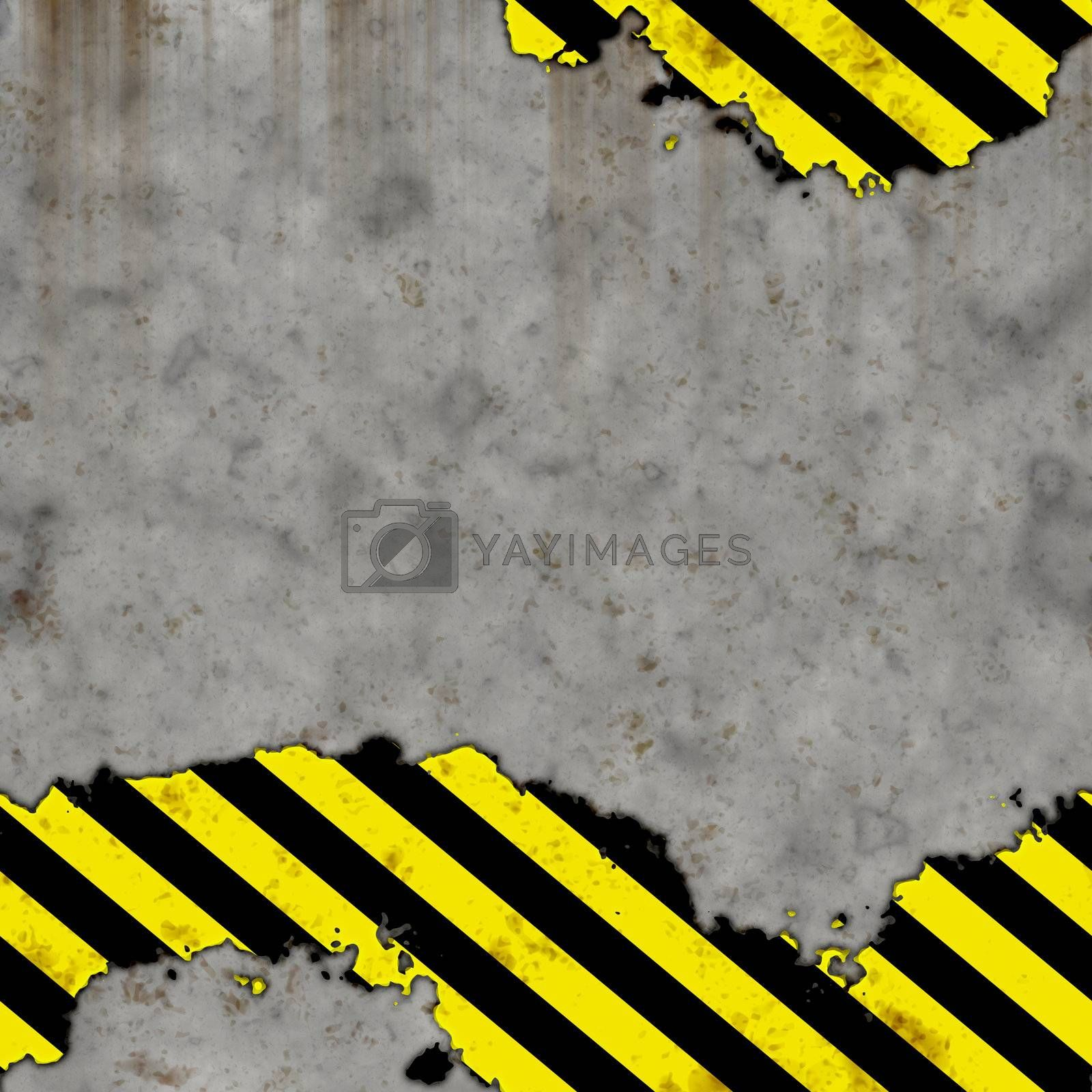 worn out cement or concrete wall with hazard stripe warning