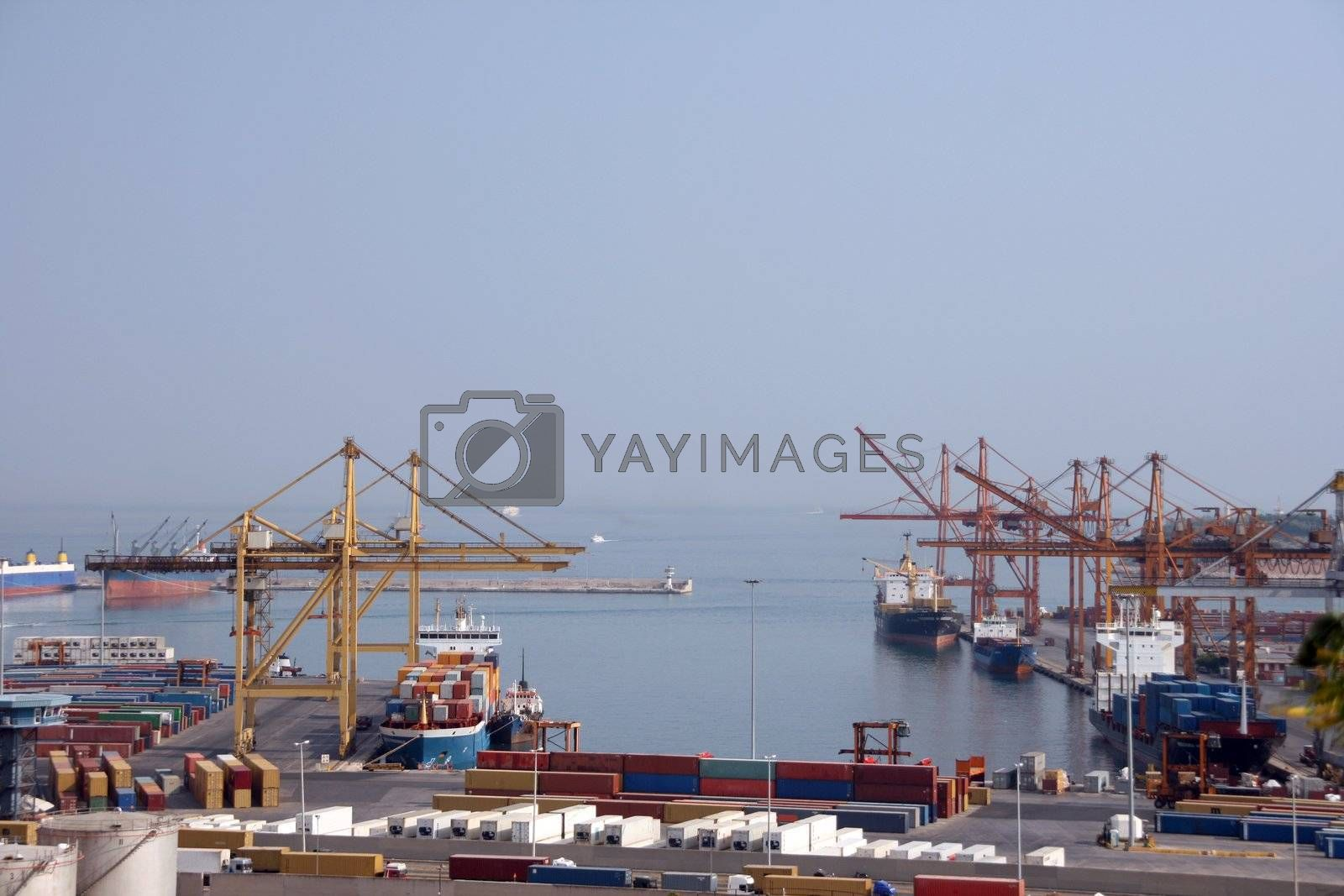 shipping industry cargo ship and containers at the port of piraeus athens greece no visible logos on containers