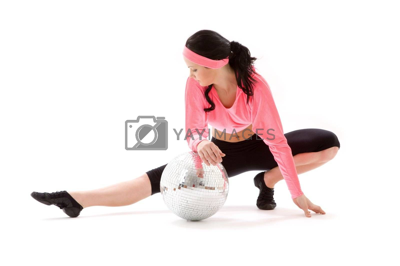 picture of dancer girl with glitterball over white