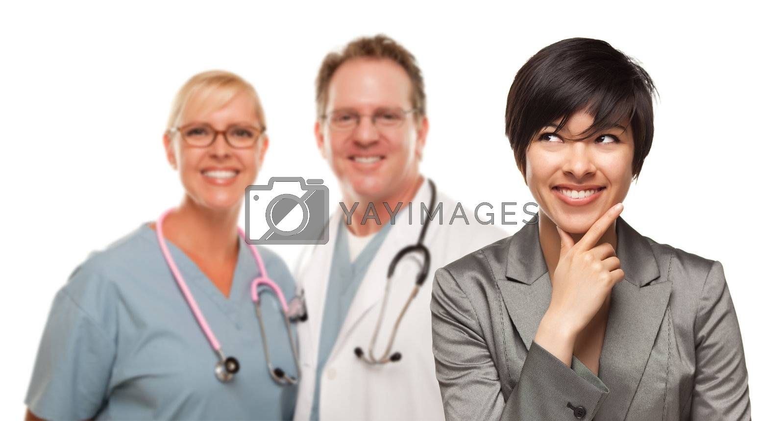 Young Multiethnic Woman and Two Doctors Isolated on a White Background.