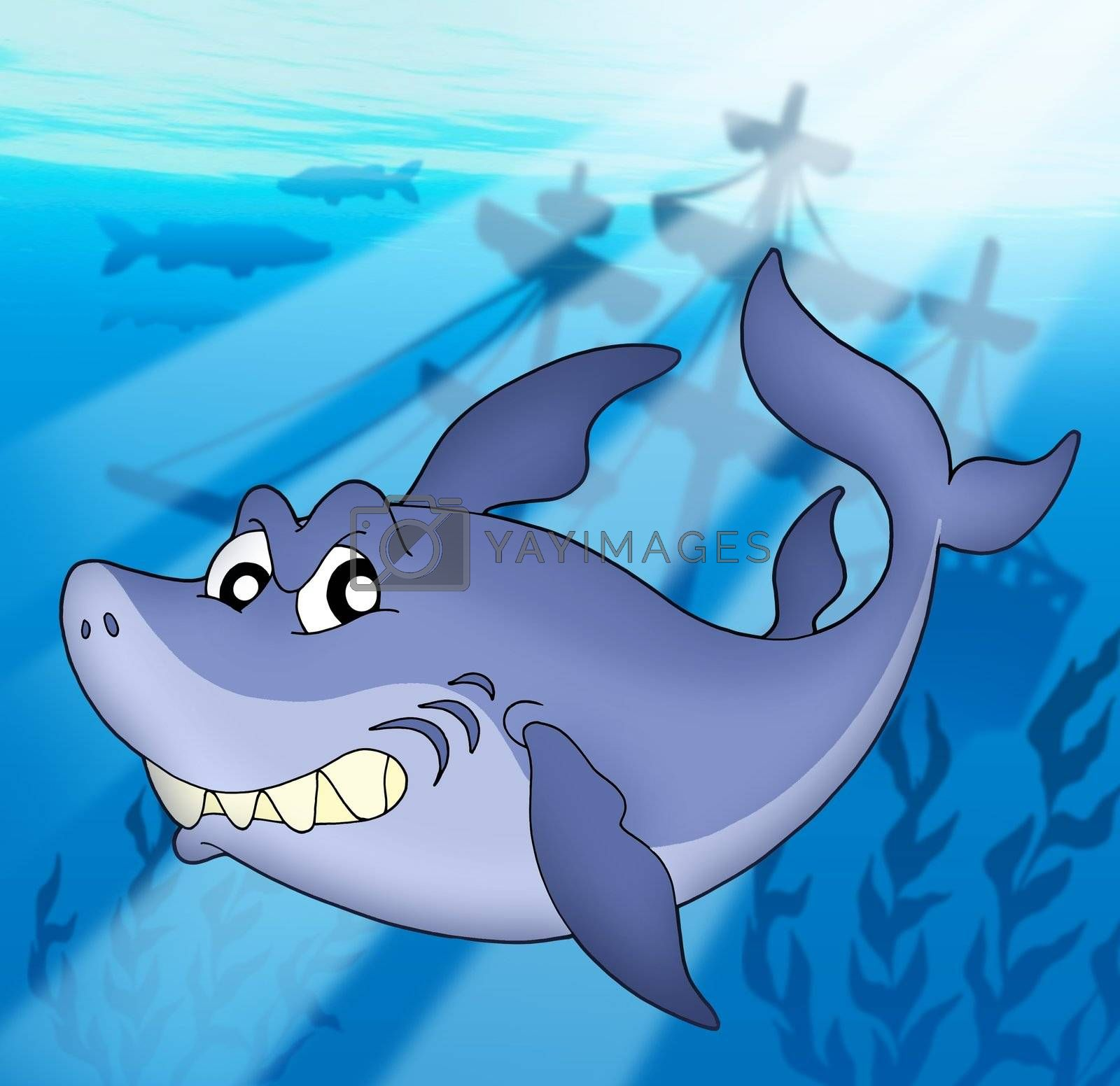Shark with shipwreck - color illustration.