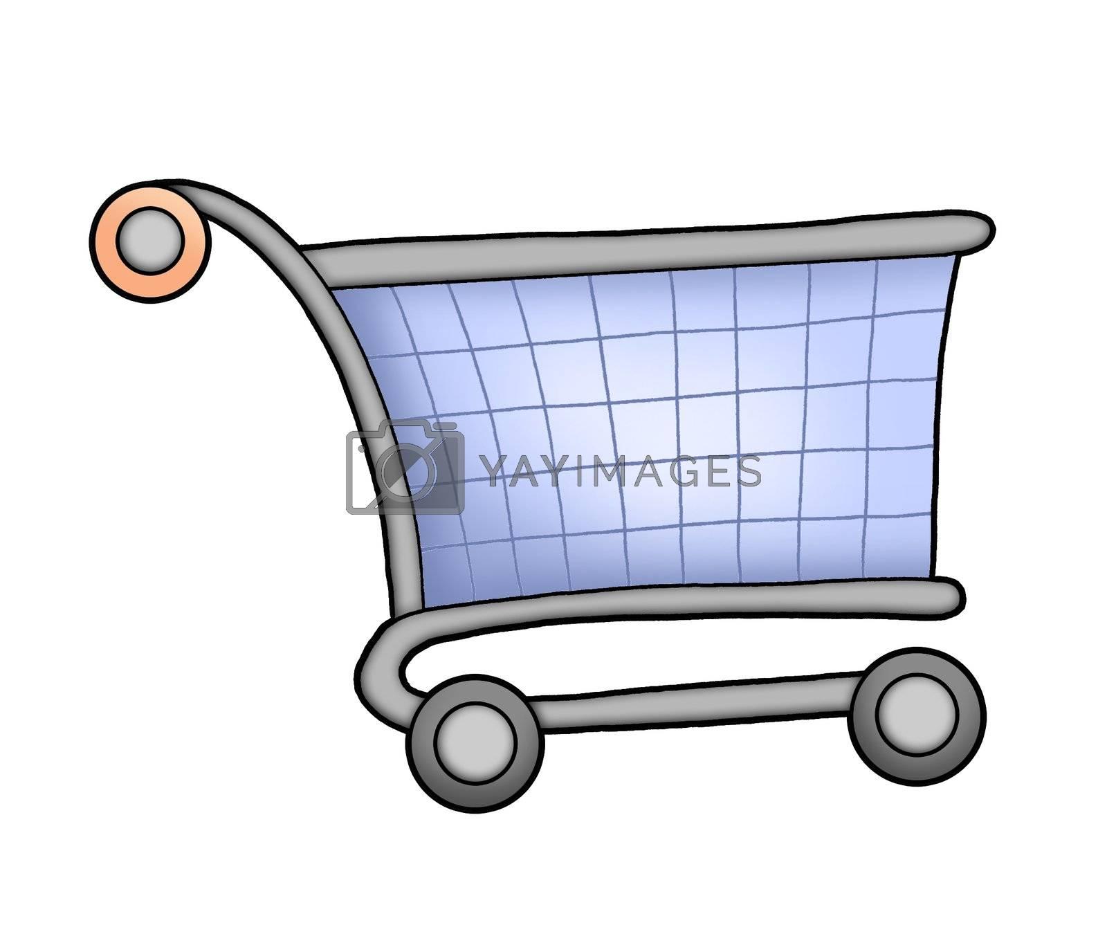 Blue shopping cart - color illustration.