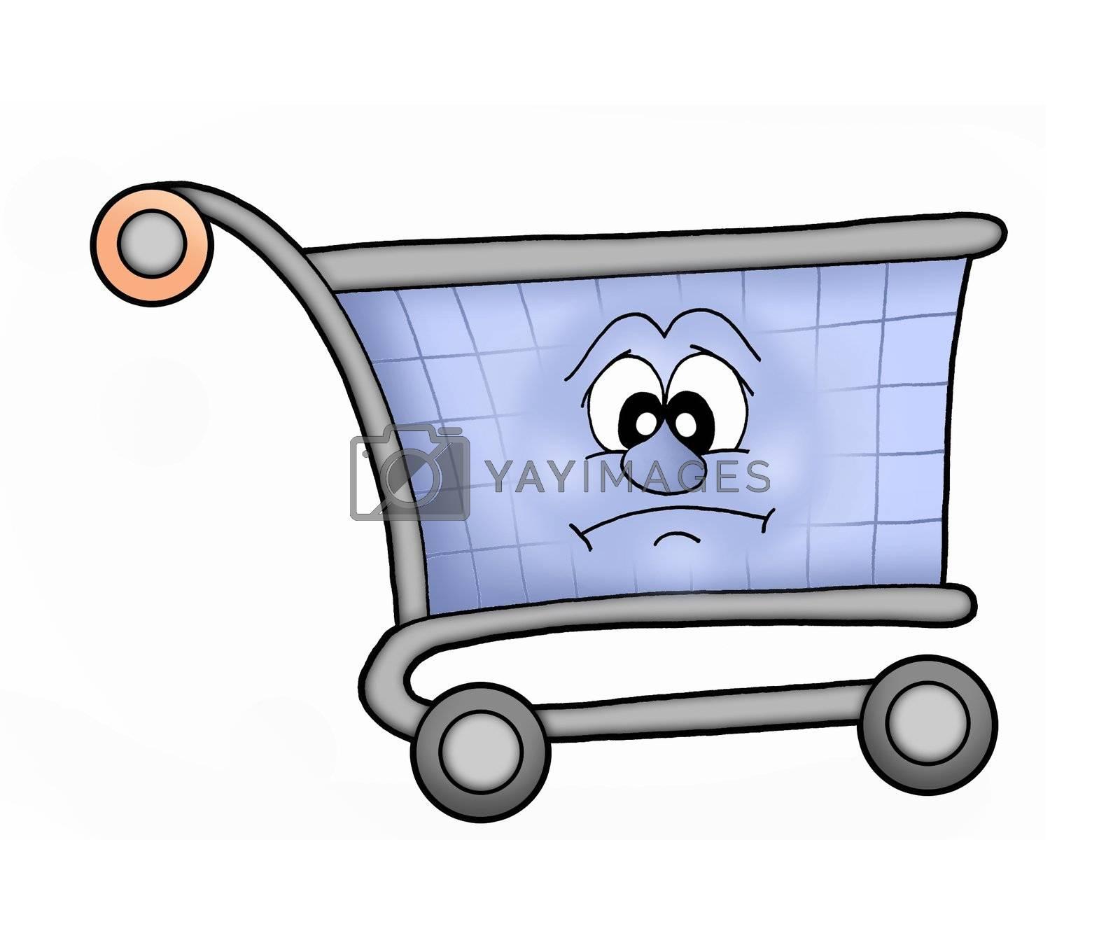 Sad shopping cart - color illustration.