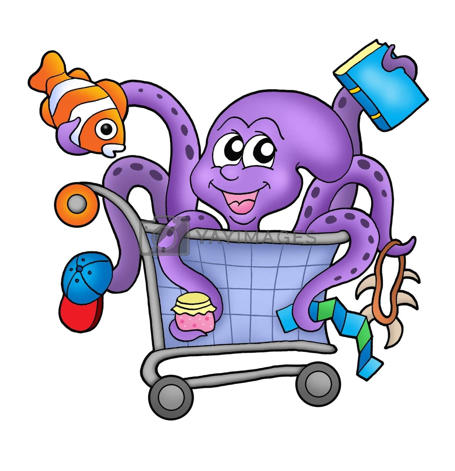Octopus and shopping cart - color illustration.