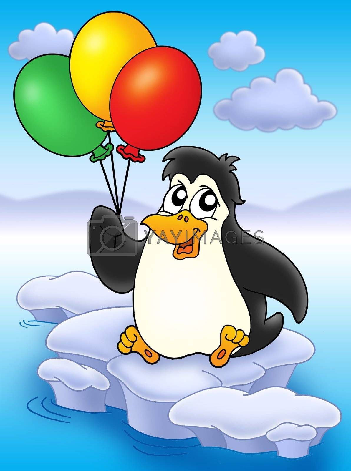 Penguin with balloons on iceberg - color illustration.